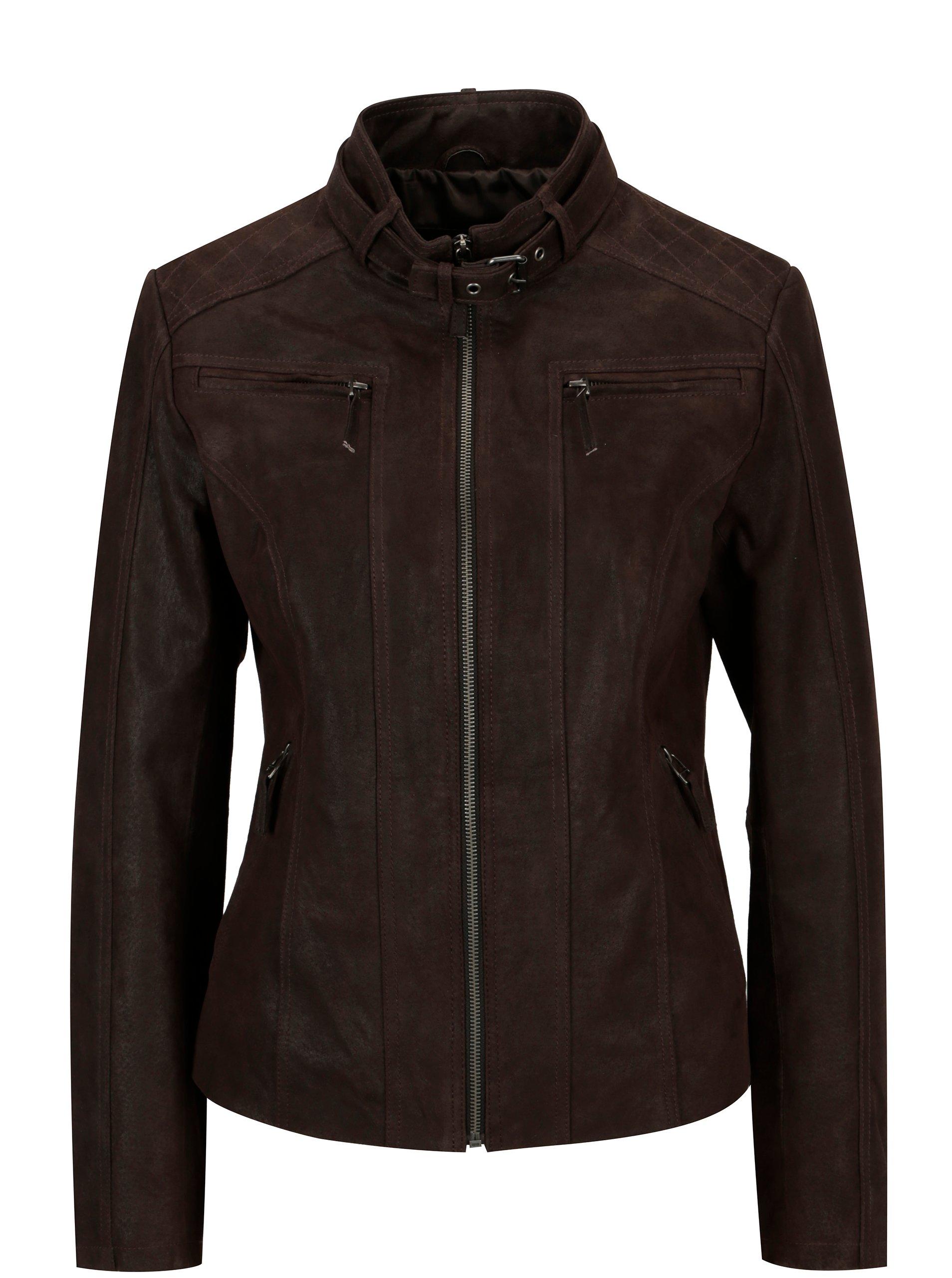 Tmavě hnědá dámská kožená bunda s přezkou KARA Diva