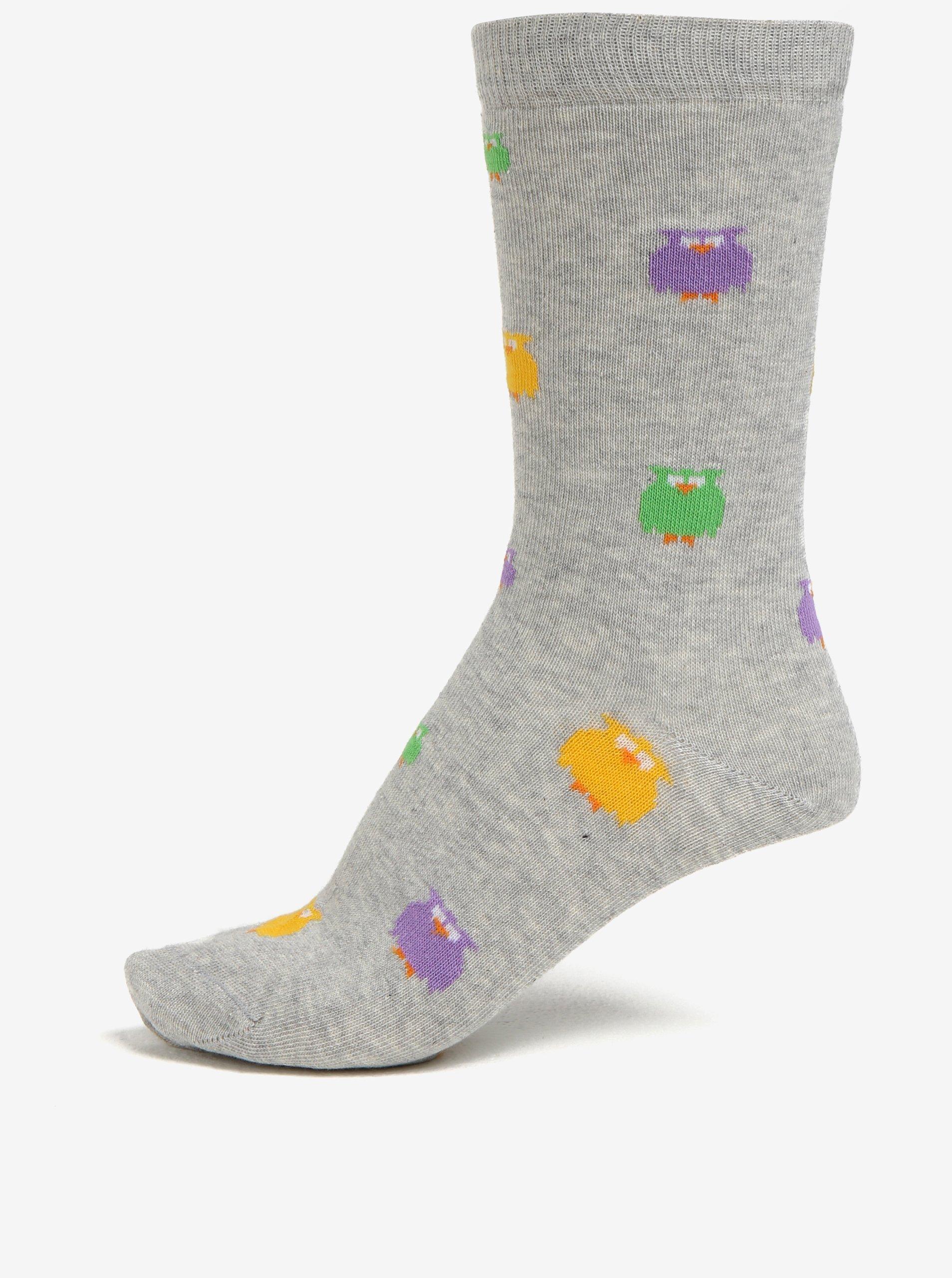 Svetlosivé dámske melírované ponožky s motívom sov ZOOT