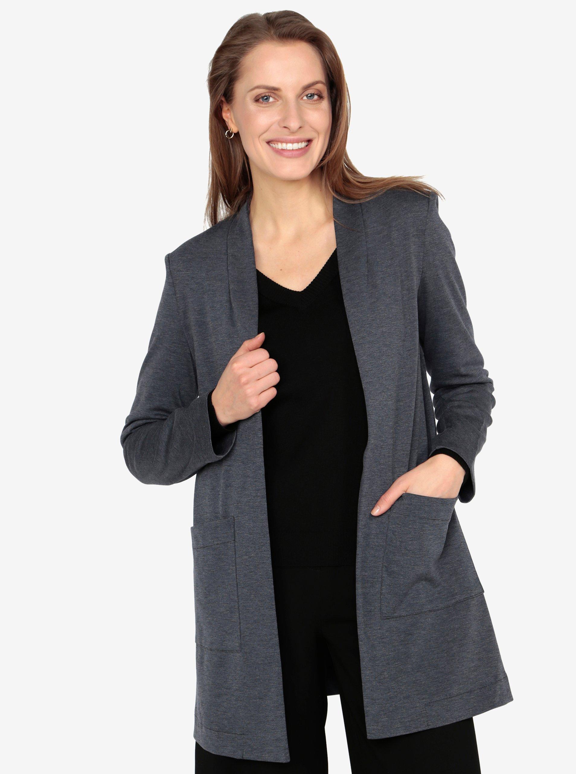 Tmavě modré dlouhé sako s kapsami VERO MODA Jenny