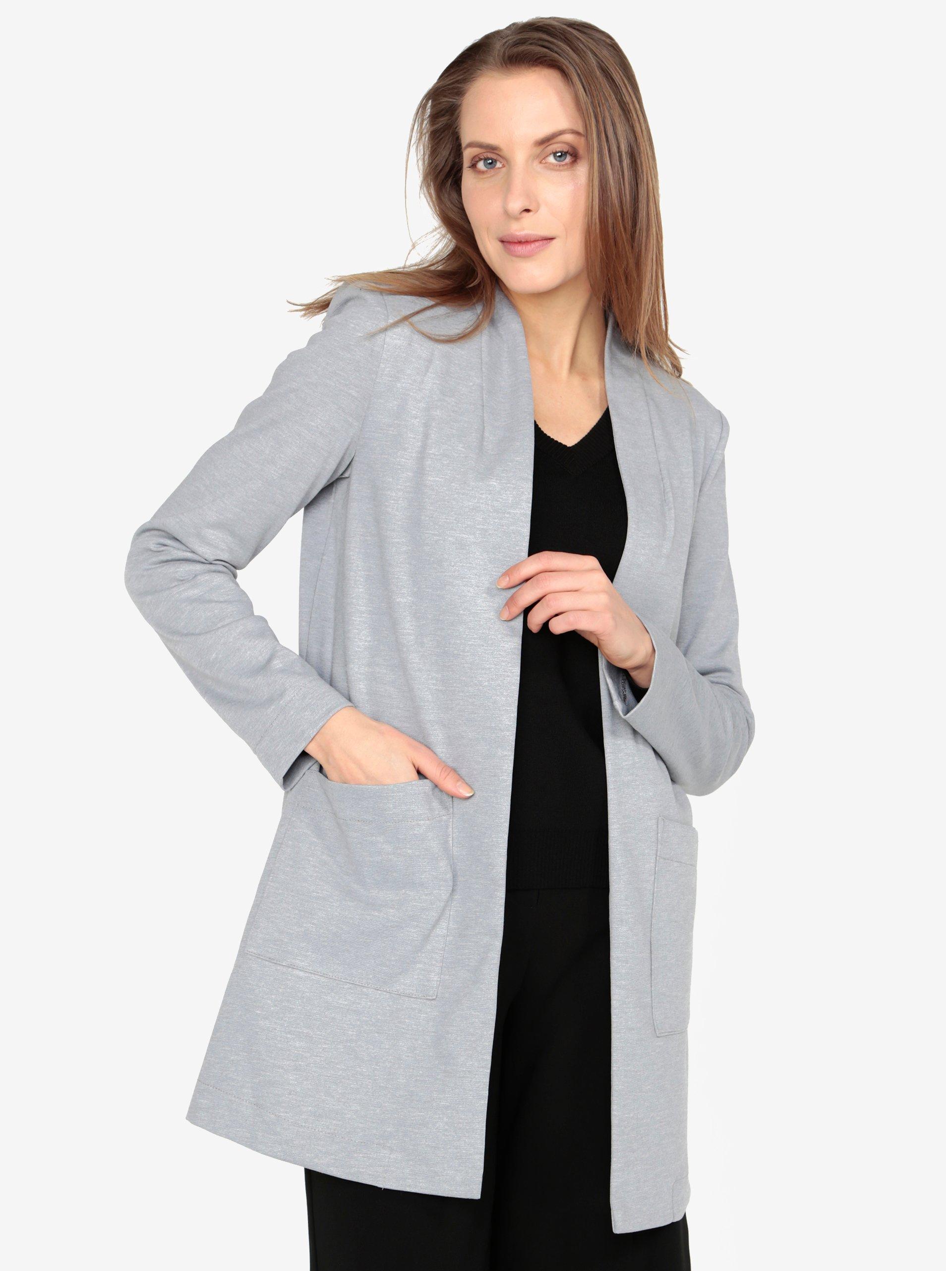 Světle šedé žíhané dlouhé sako s kapsami VERO MODA Jenny