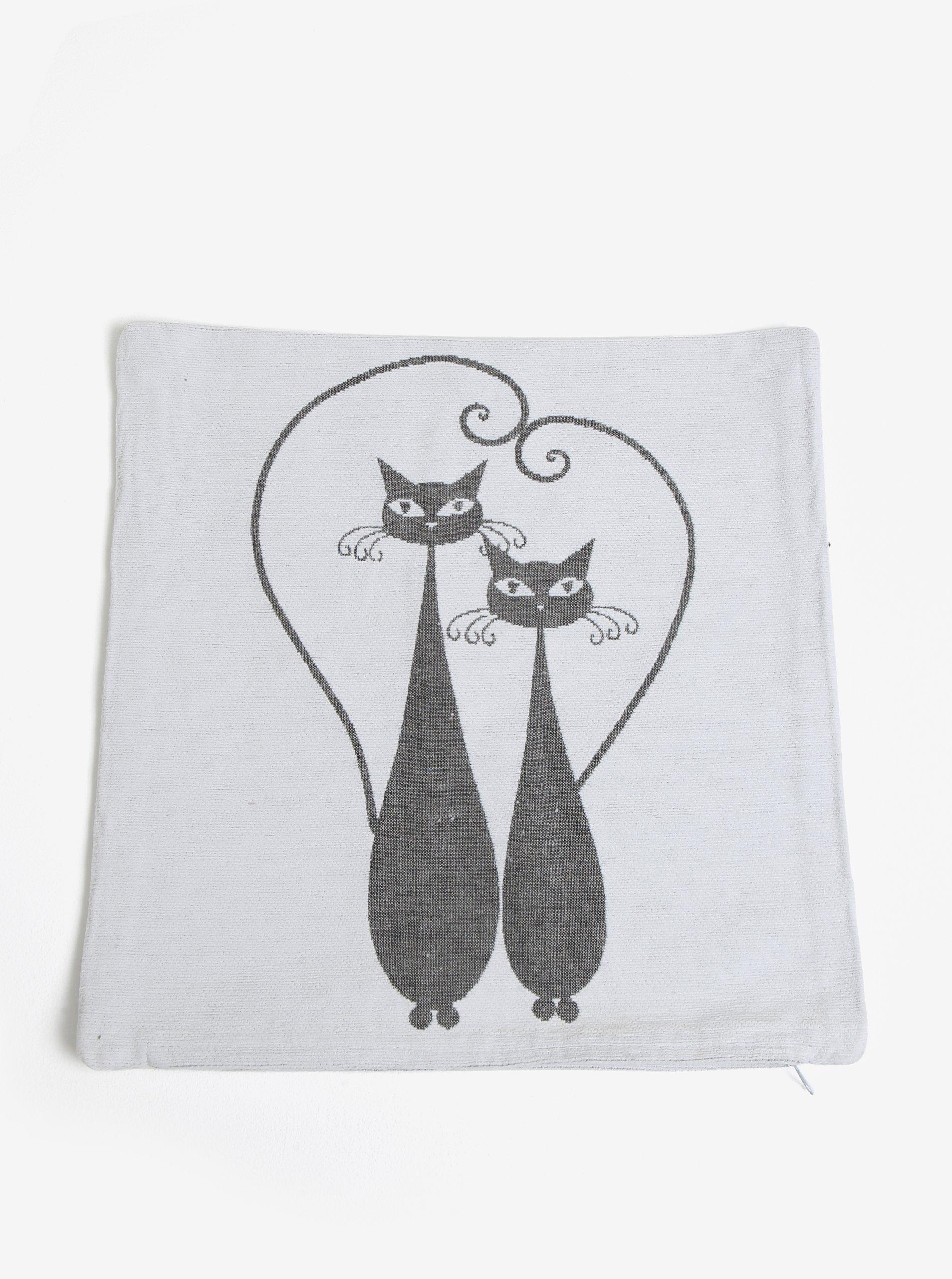 Fotografie Šedo-krémový povlak na polštář s motivem dvou koček Dakls