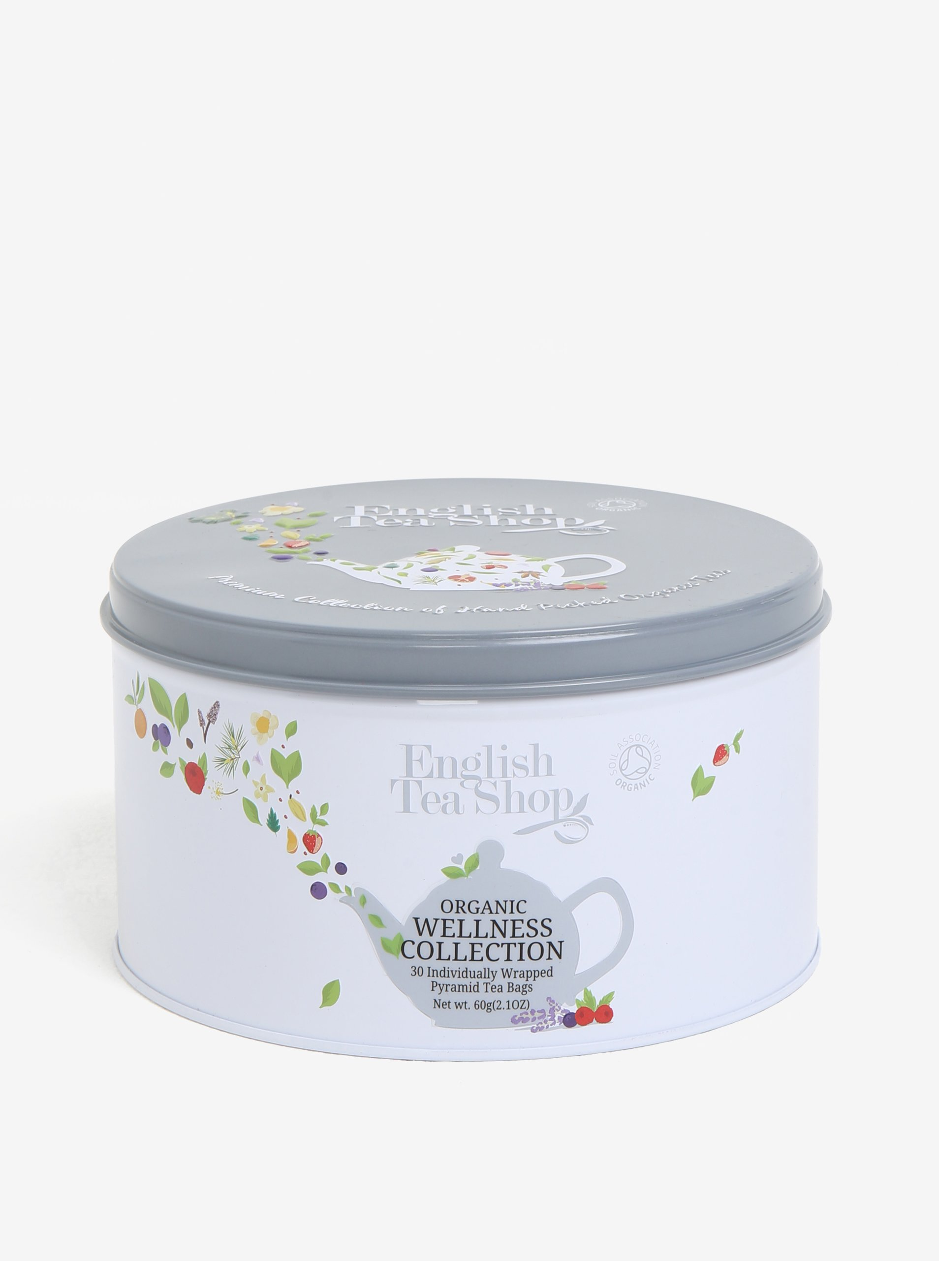 Šedá dárková plechovka wellness čaje English Tea Shop Wellness