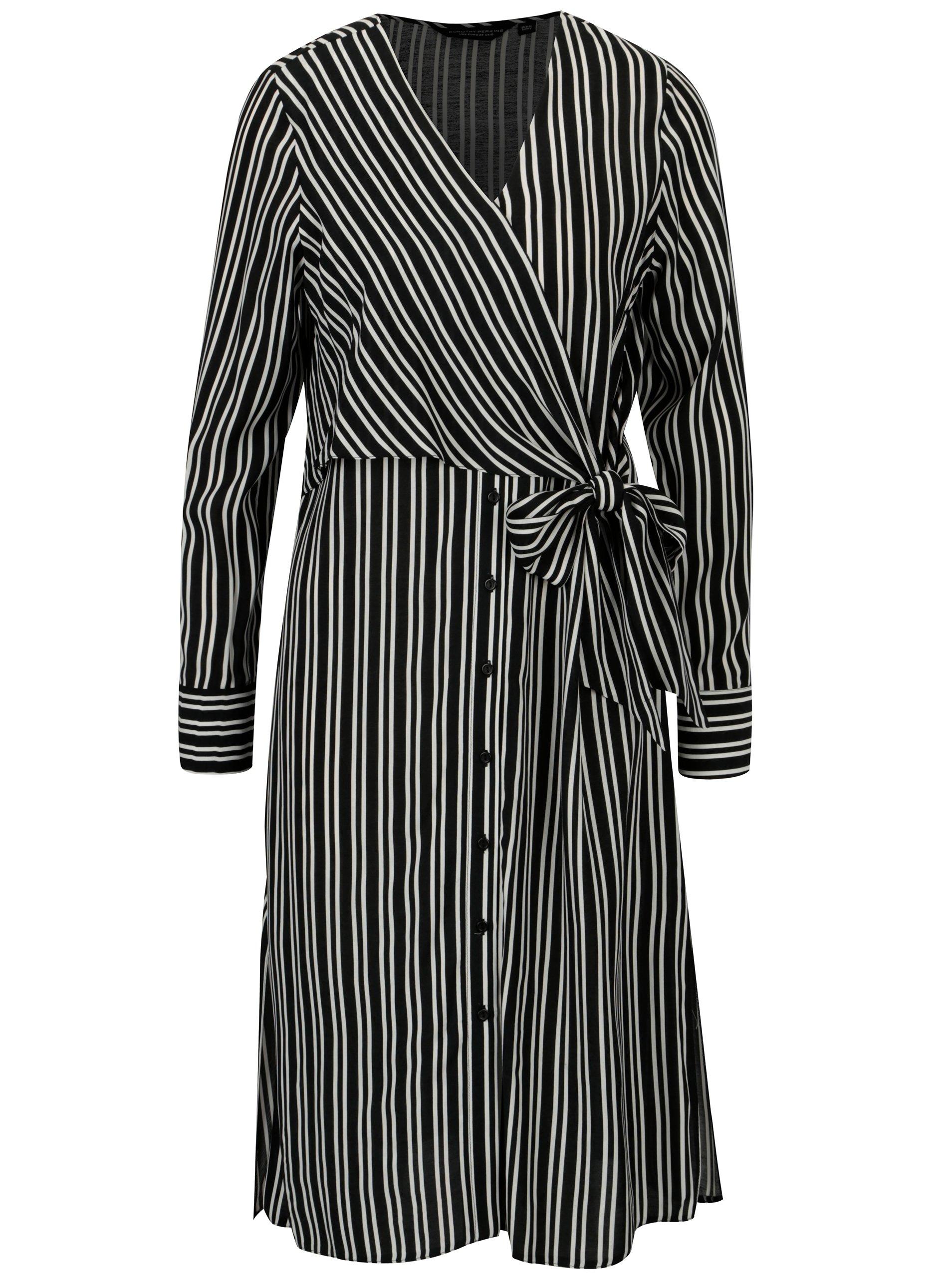 Čierne pruhované šaty Dorothy Perkins