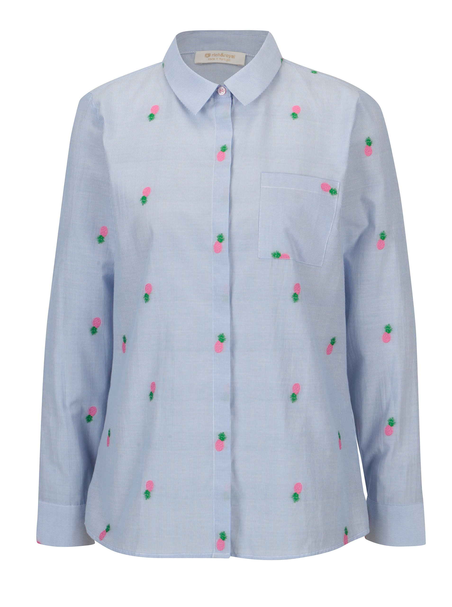 Světle modrá pruhovaná košile s výšivkami Rich & Royal