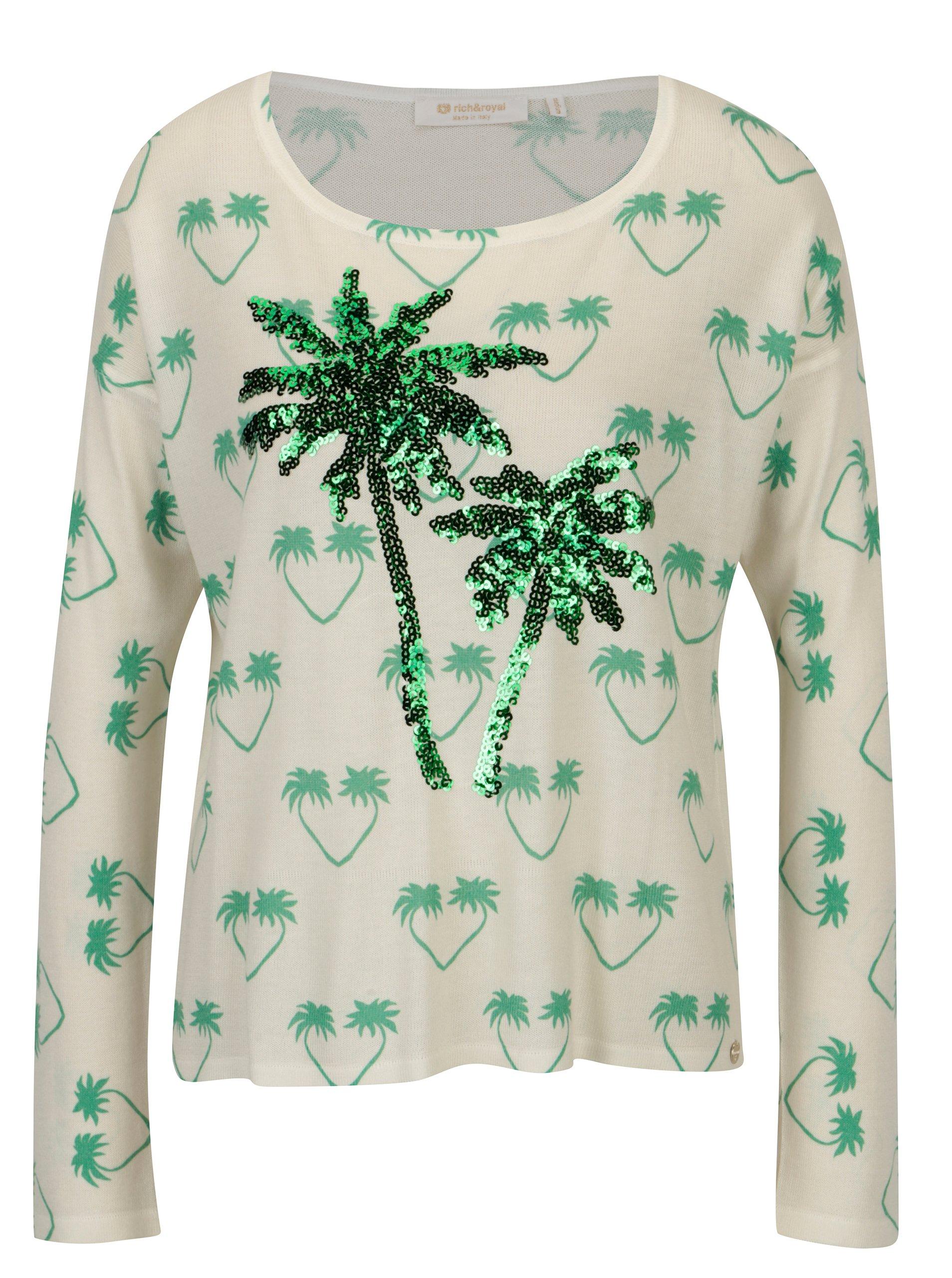 Krémový tenký sveter s motívom paliem a flitrami Rich & Royal
