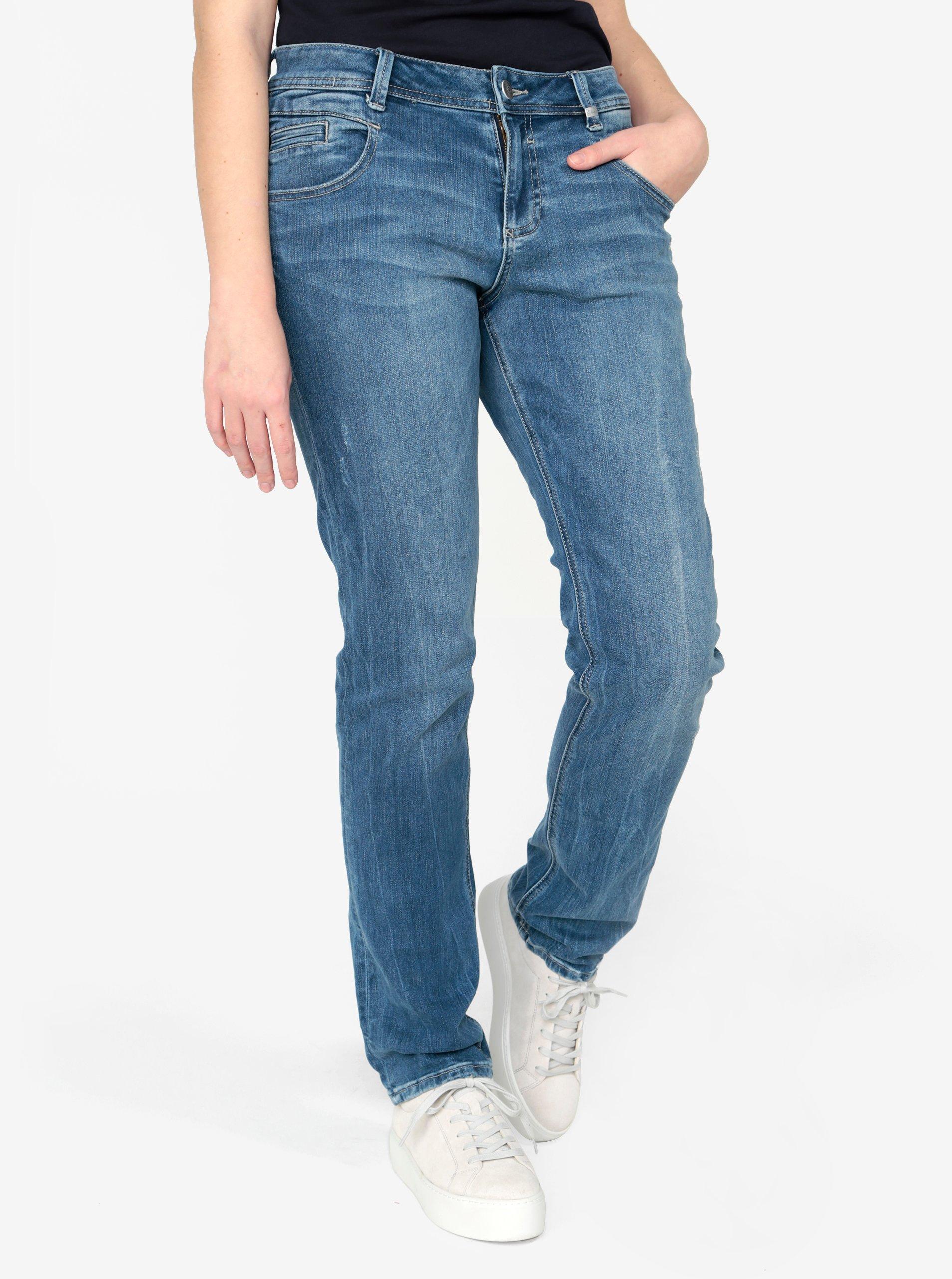 Modré dámské straight džíny s vyšisovaným efektem s.Oliver