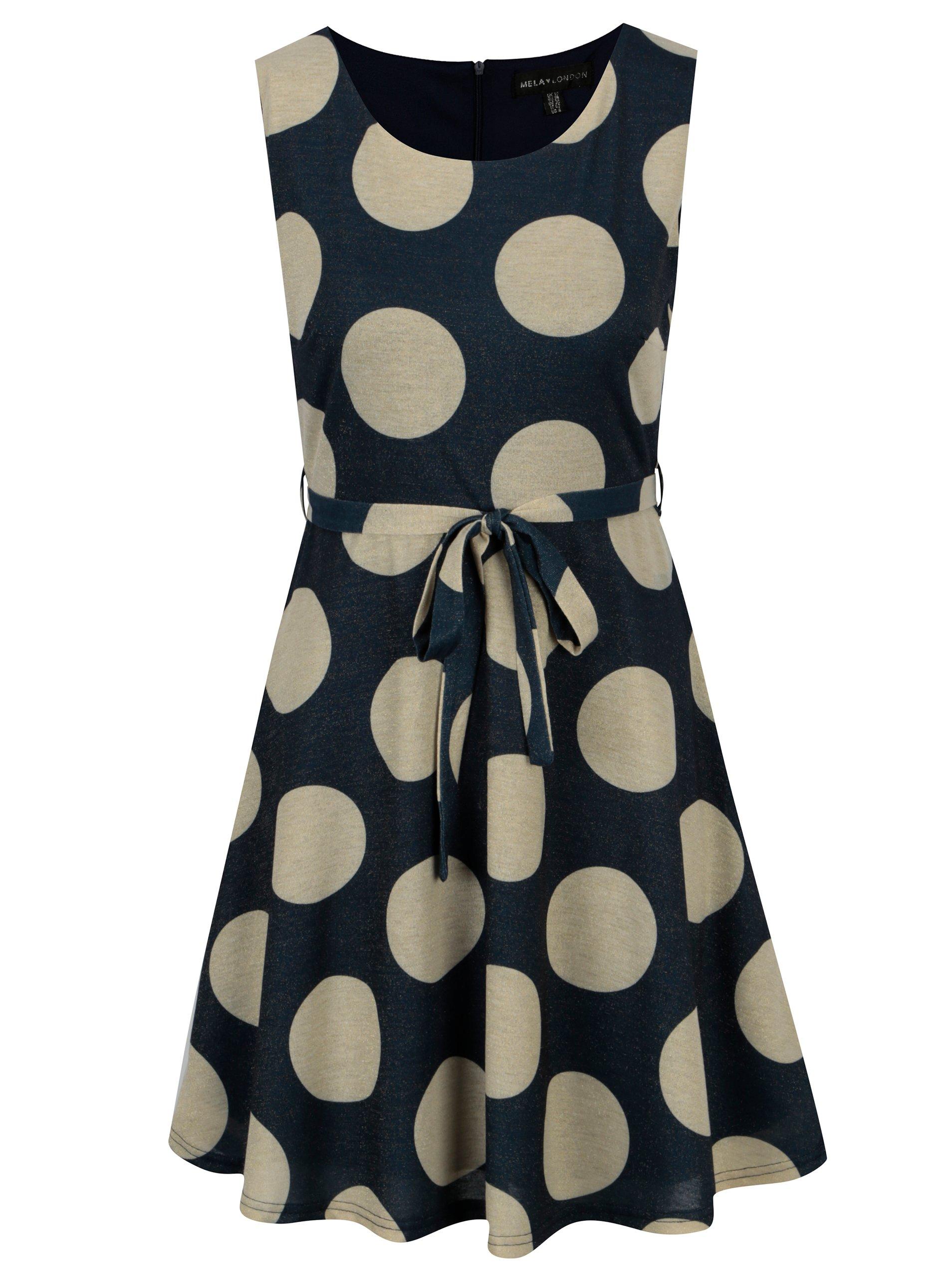 Fotografie Zlato-modré šaty s puntíky a páskem Mela London