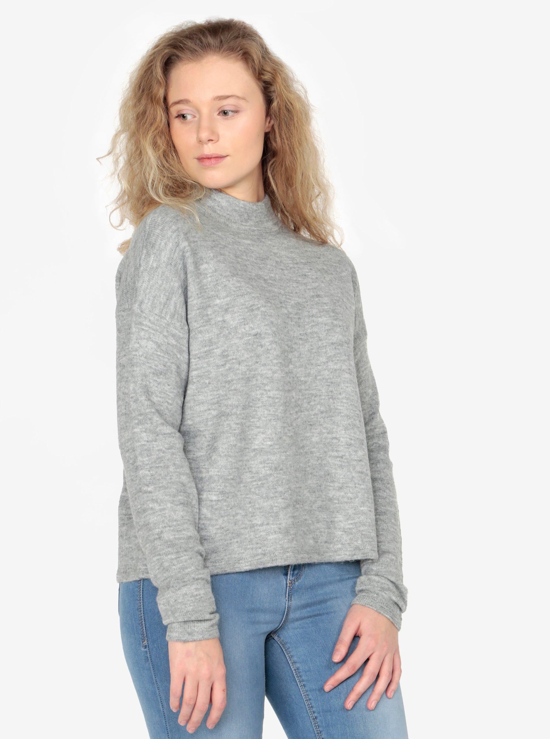 Fotografie Světle šedý dámský žíhaný svetr se stojáčkem QS by s.Oliver