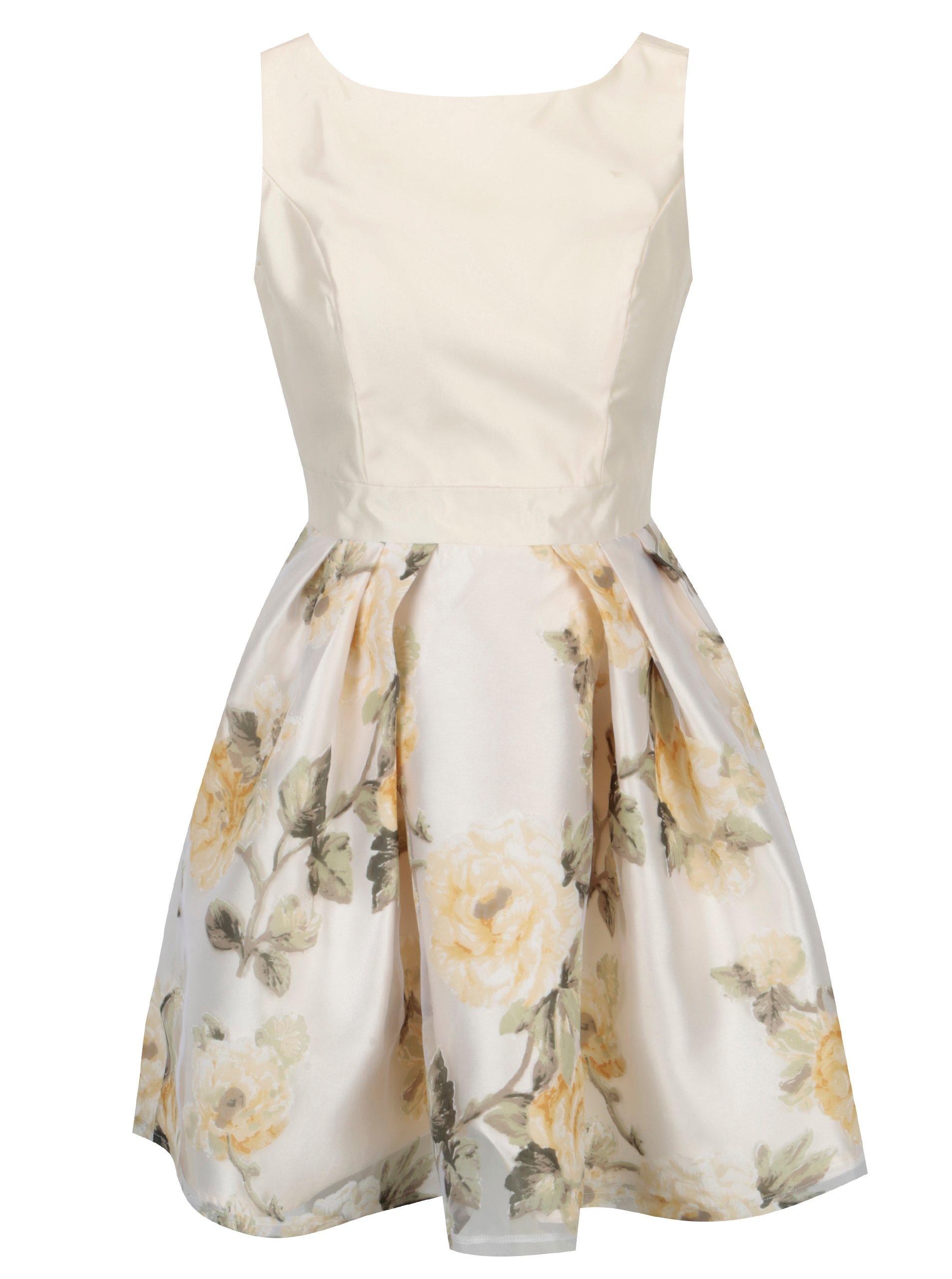 Krémové kvetované šaty s áčkovou sukňou Mela London