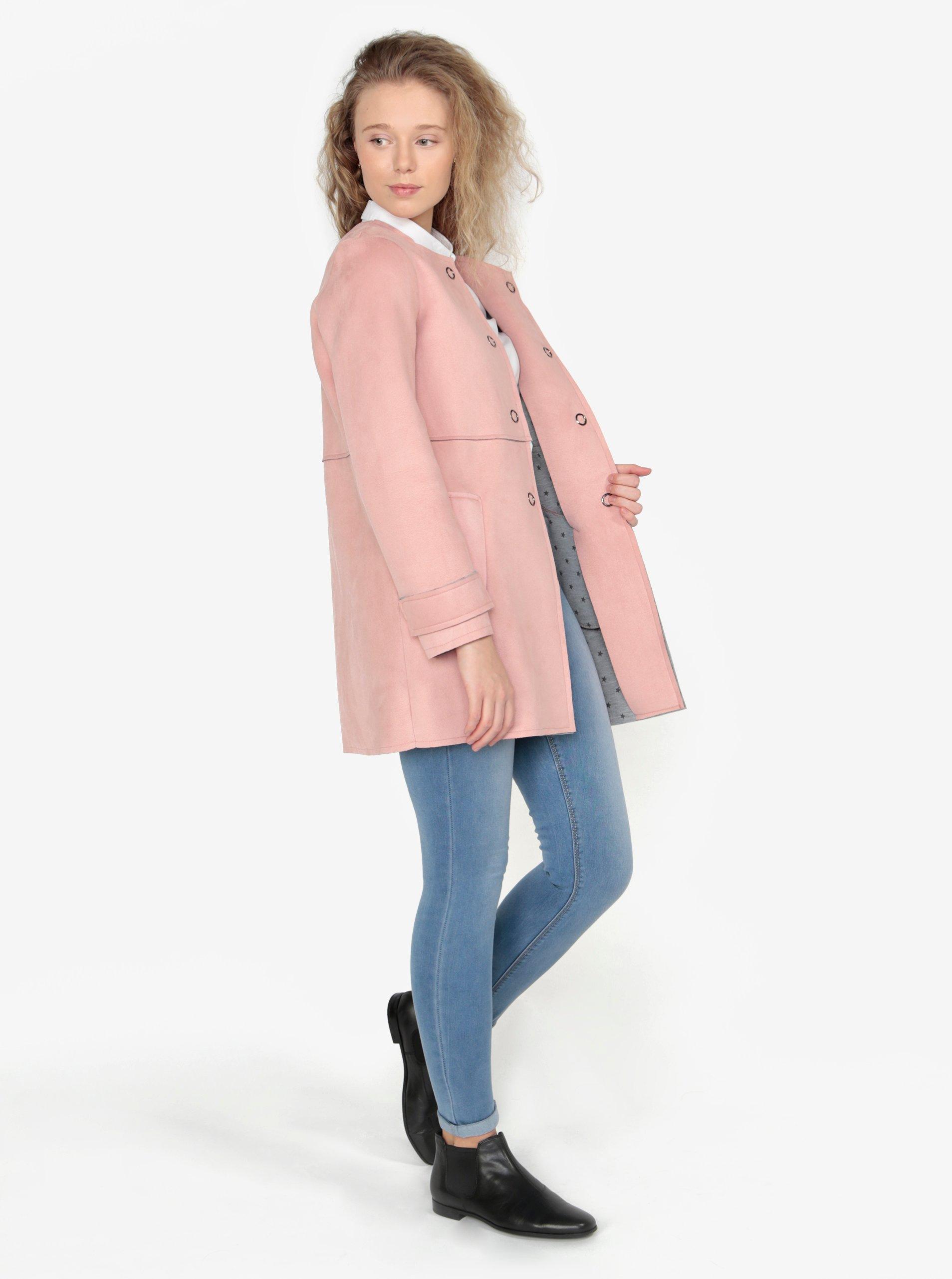 Růžový kabát v semišové úpravě ZOOT - Akční cena  2eef3d61942