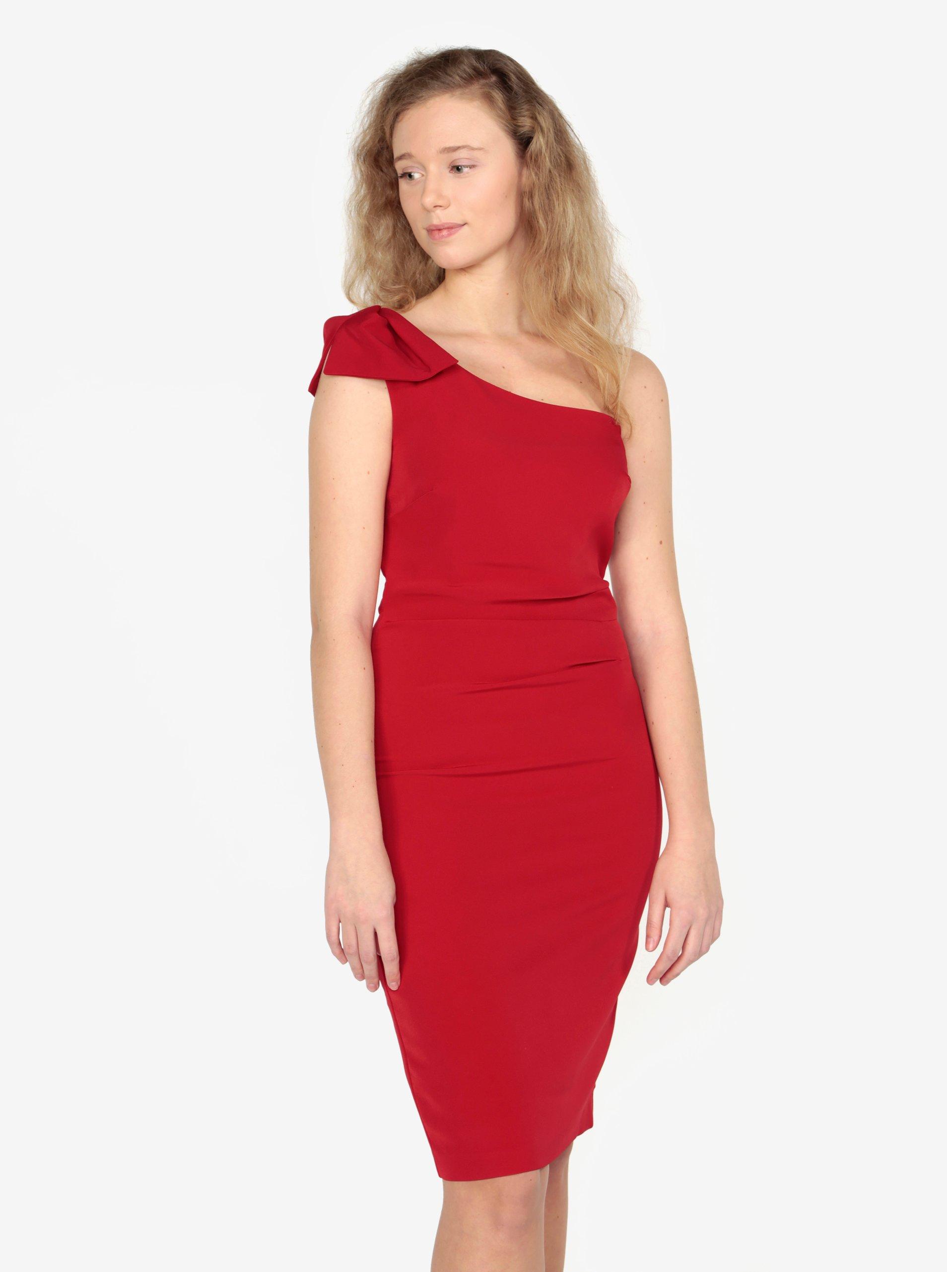 2989ca2b8dee Červené asymetrické pouzdrové šaty Oasis Lolita