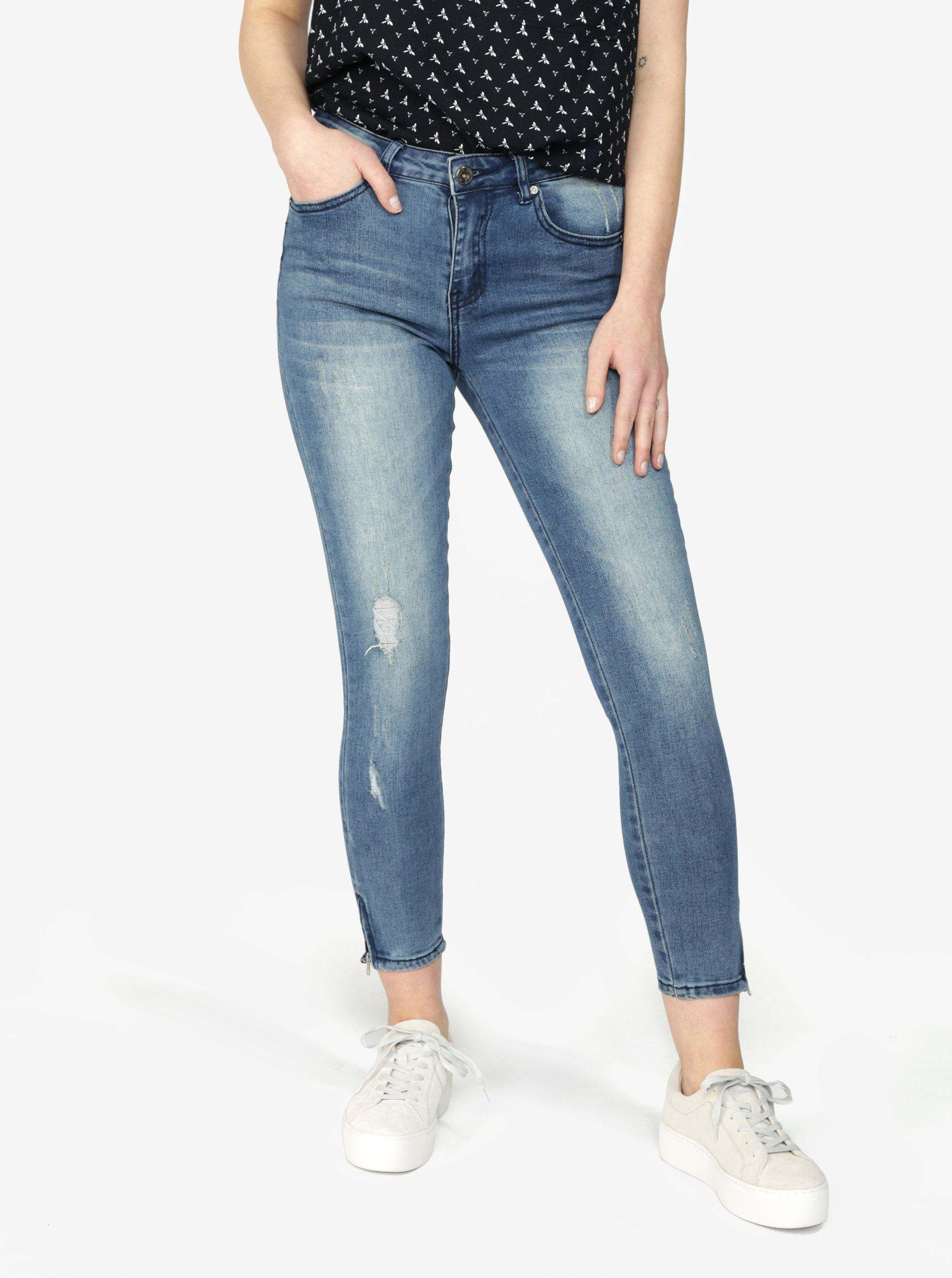 Modré zkrácené slim fit džíny Haily's Anke