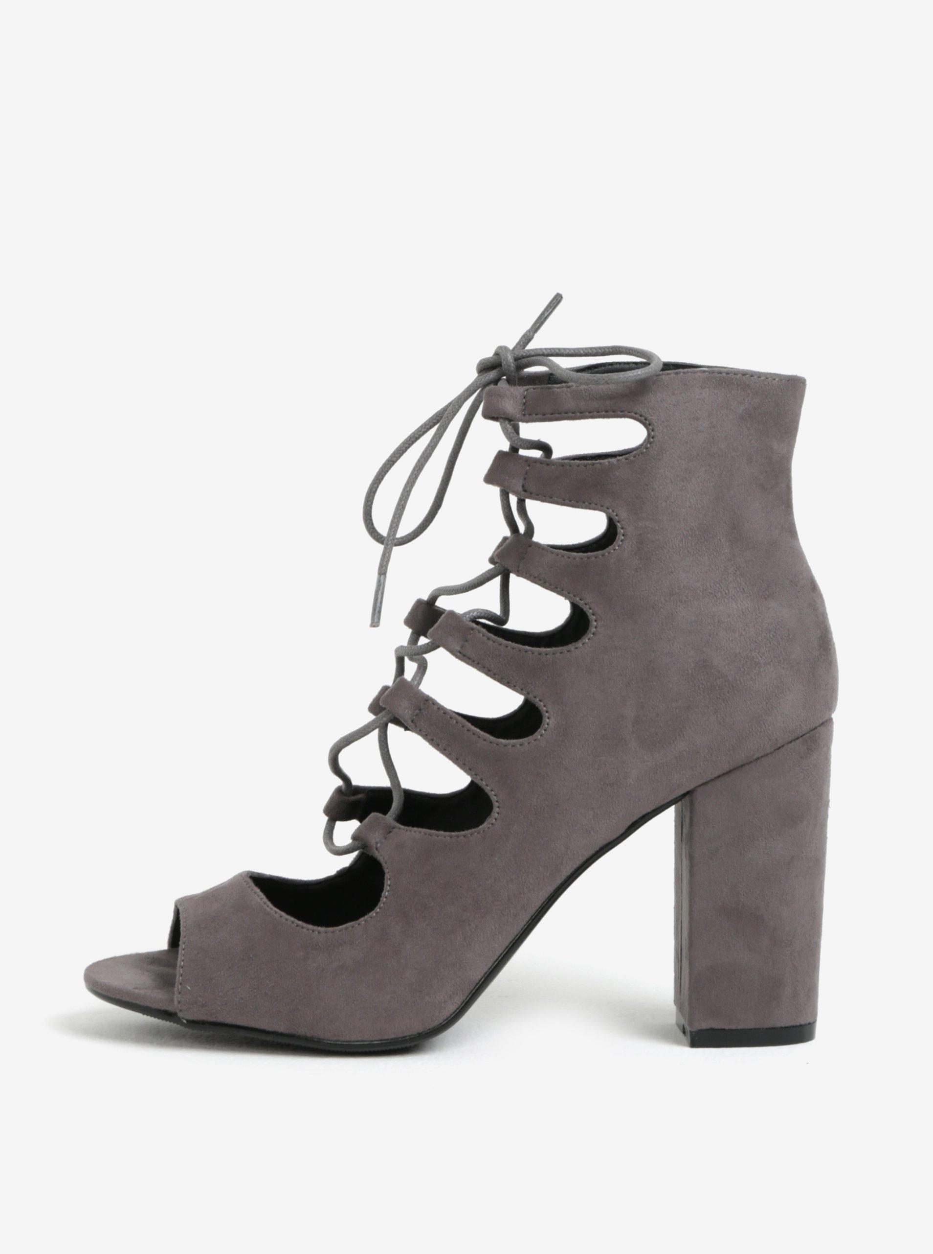 Šedé kotníkové sandálky na podpatku se šněrováním MISSGUIDED