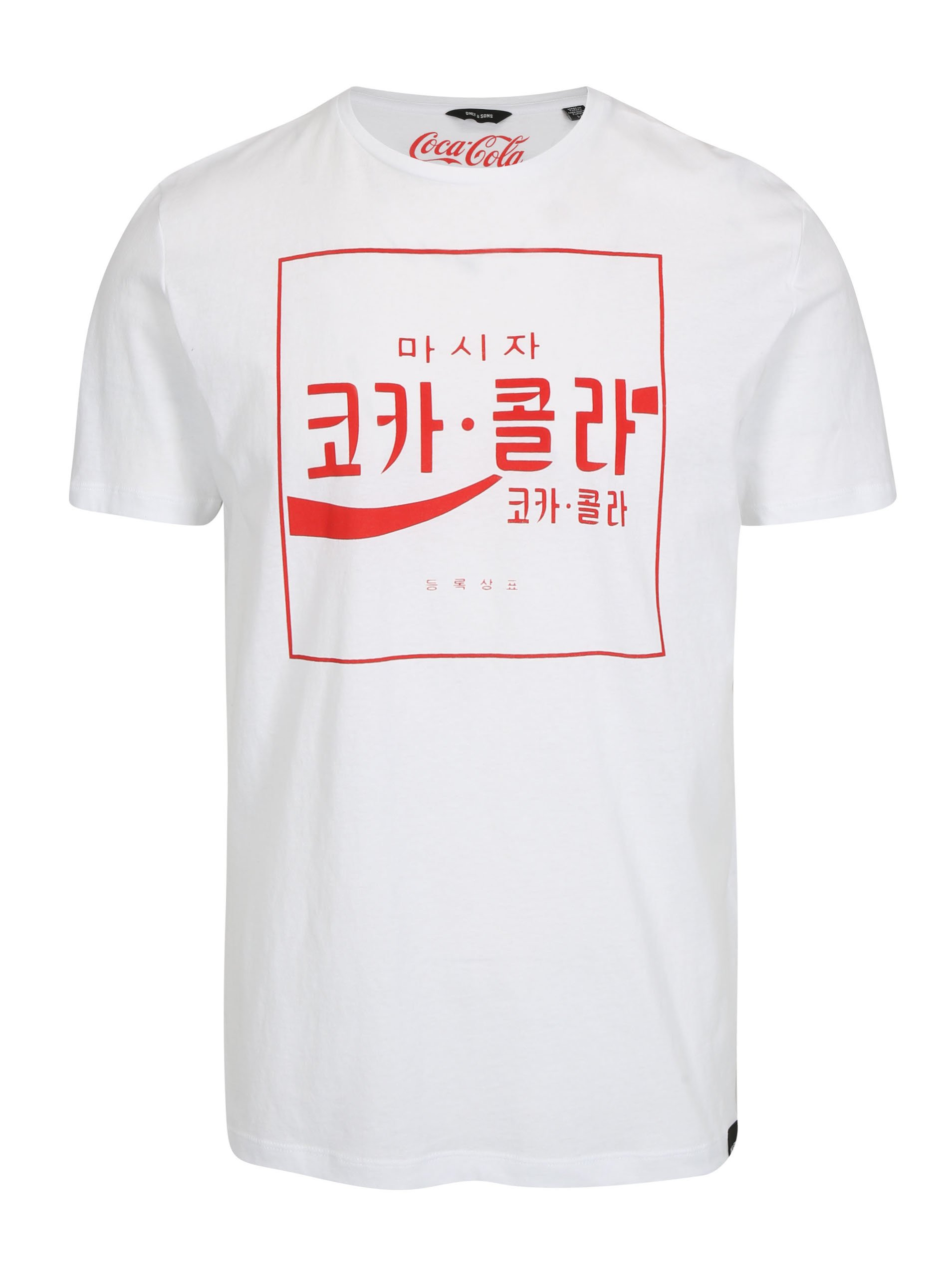 Bílé tričko s potiskem ONLY & SONS Coca Cola