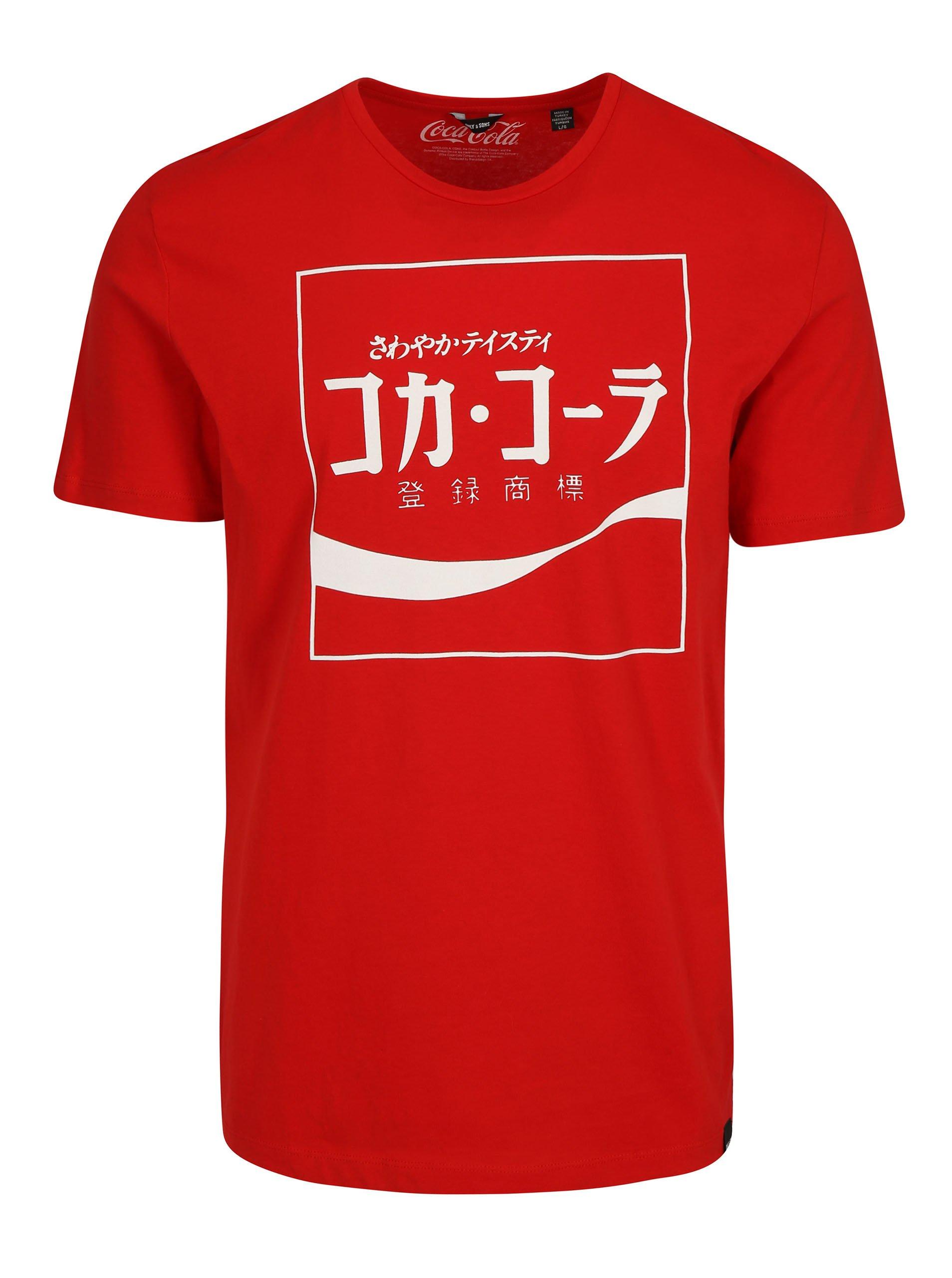 Červené tričko s potiskem ONLY & SONS Coca Cola