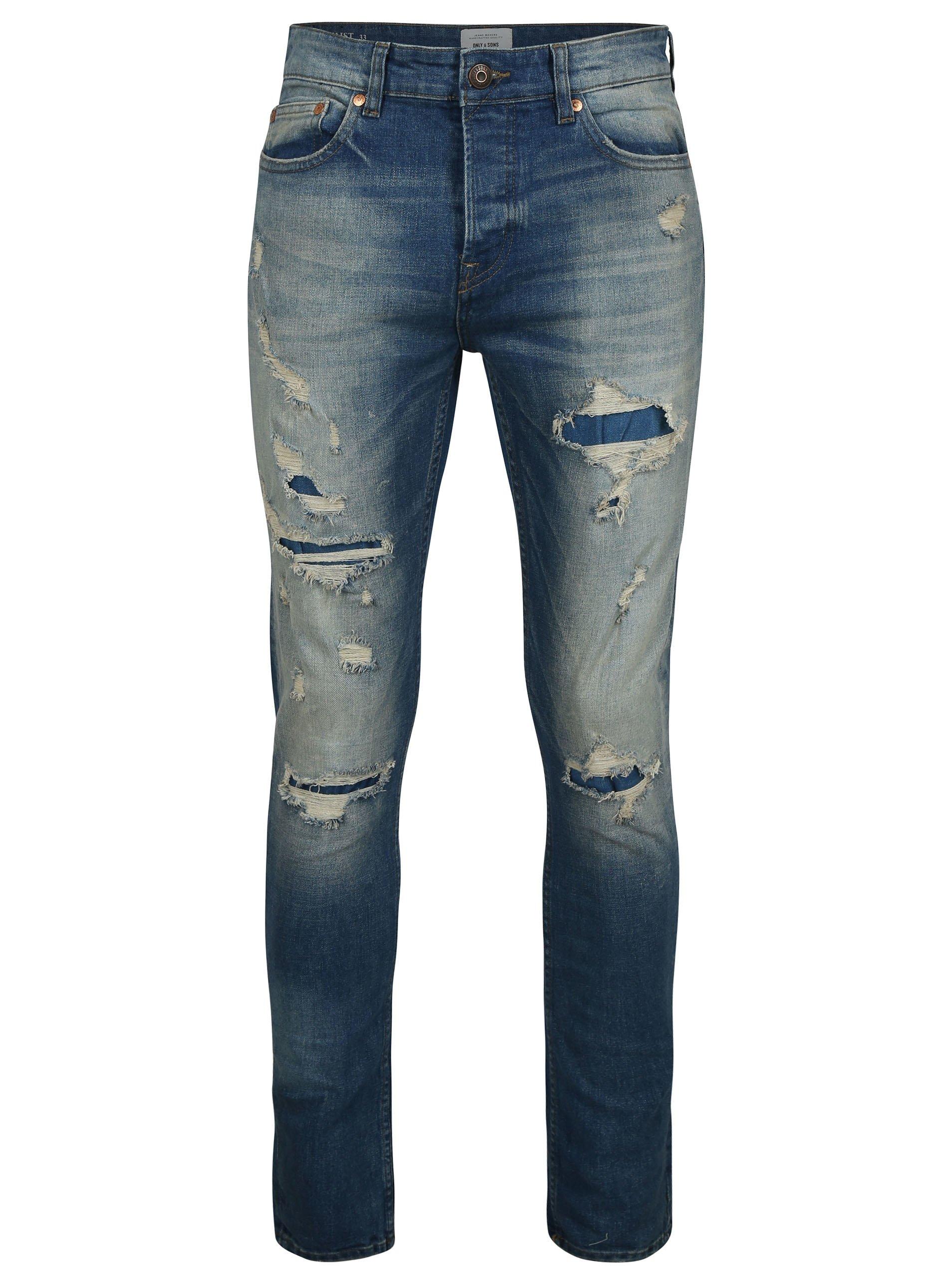 Modré slim džíny s potrhaným efektem ONLY & SONS Loom