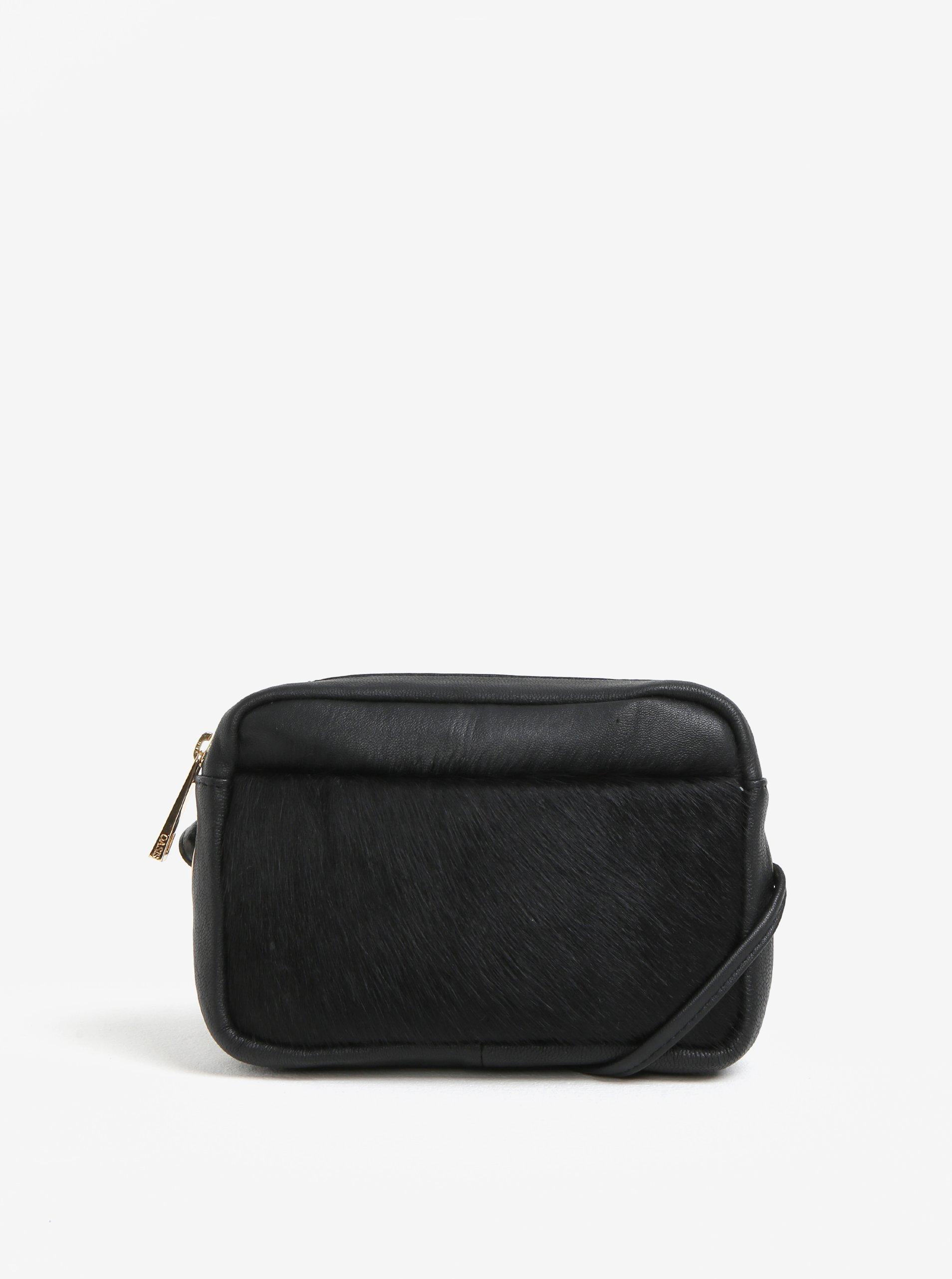 Čierna kožená crossbody kabelka s imitáciou zvieracej srsti Oasis Camera