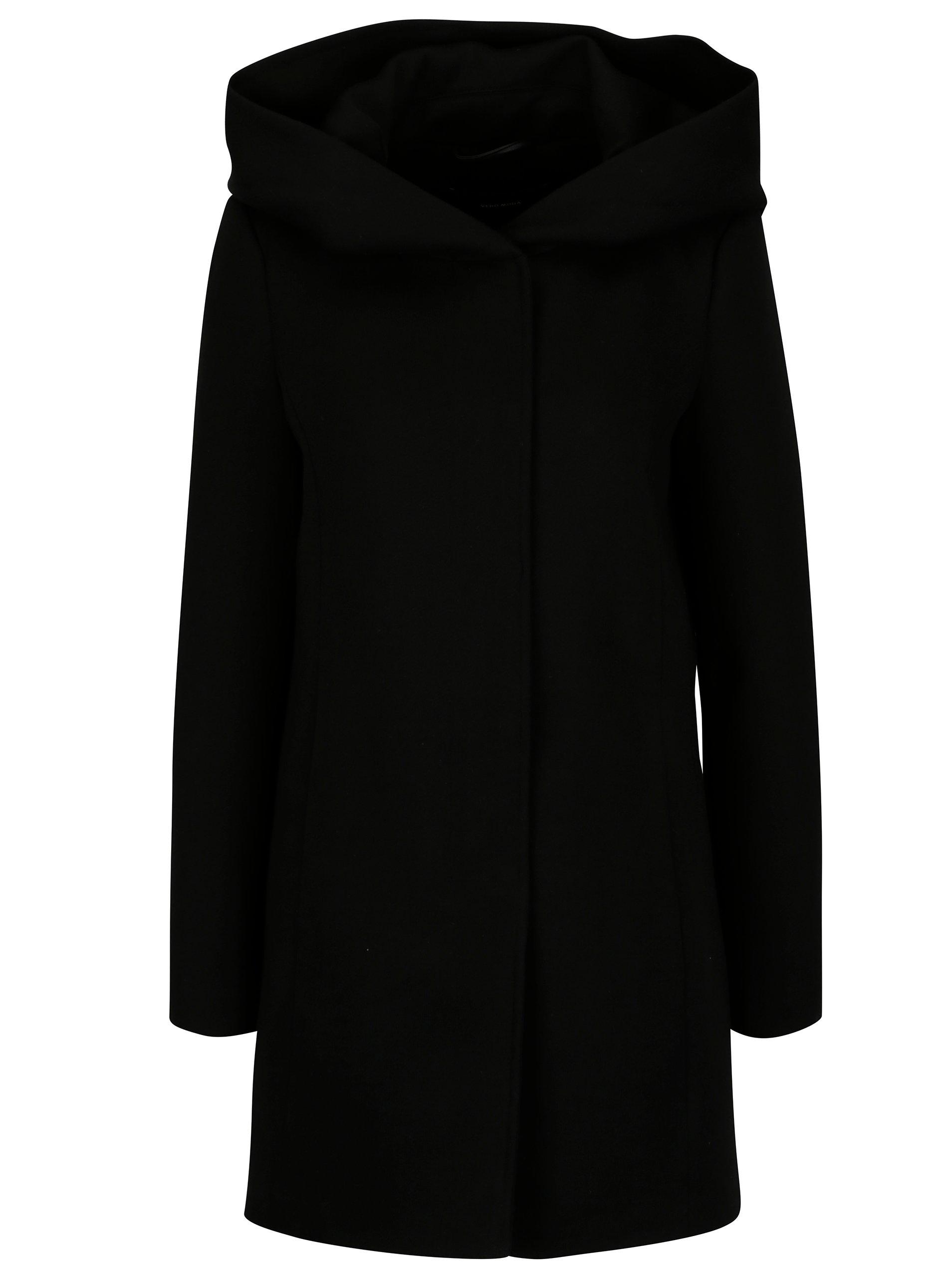 Černý kabát s kapucí ONLY Erodona