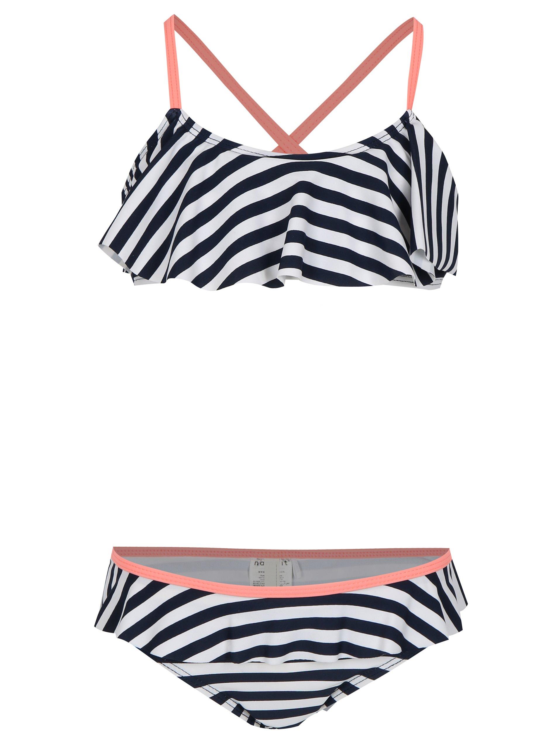 Tmavomodré dievčenské pruhované dvojdielne plavky name it Zu Jingle