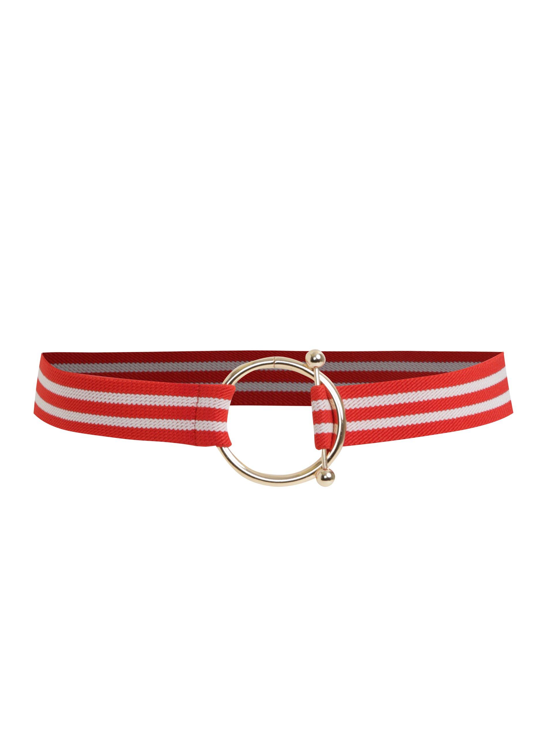 Červený pruhovaný pásek Pieces Marleen