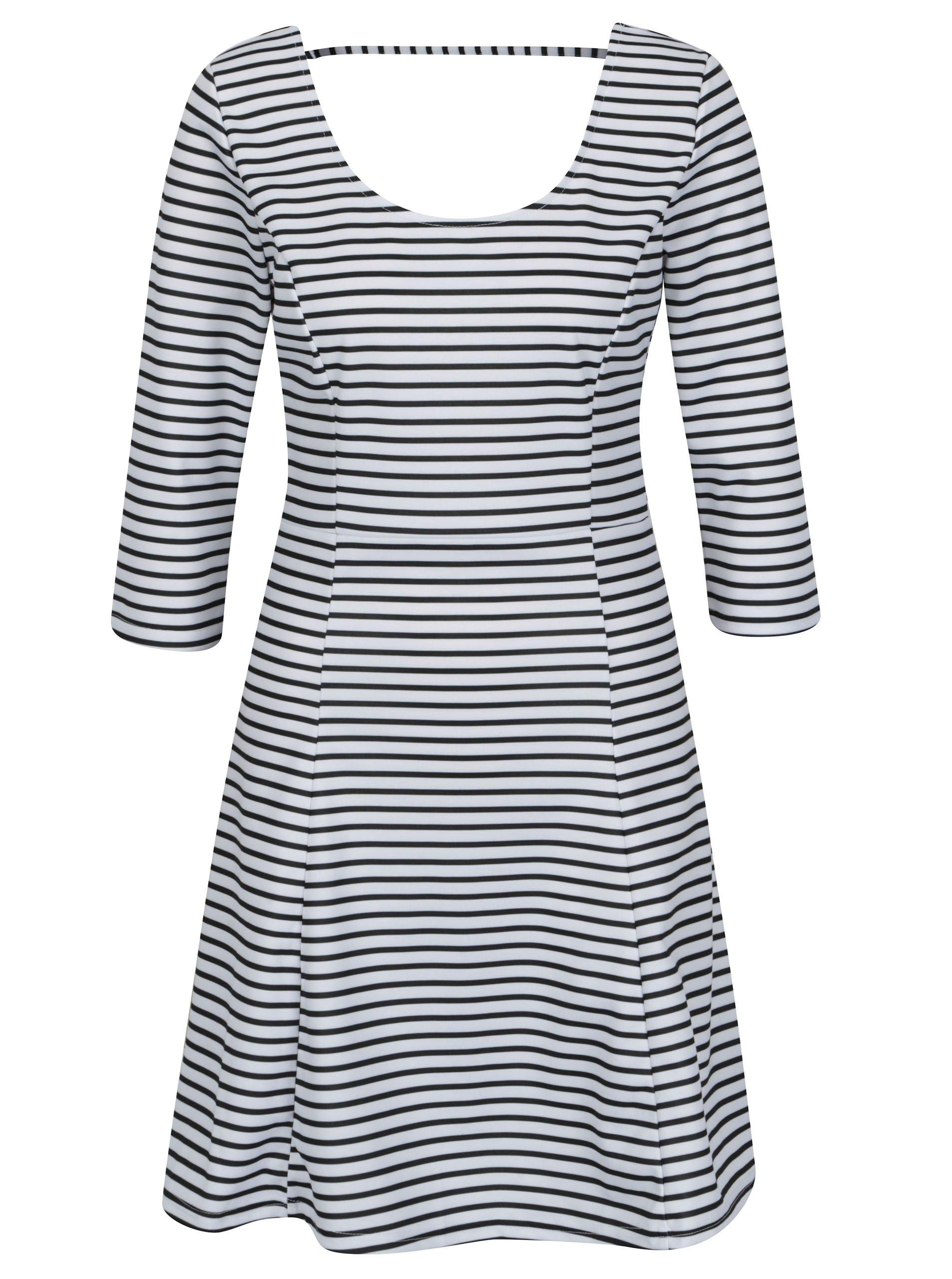 Čierno-biele pruhované šaty s 3 4 rukávom ONLY Esra b9e52dcea5d