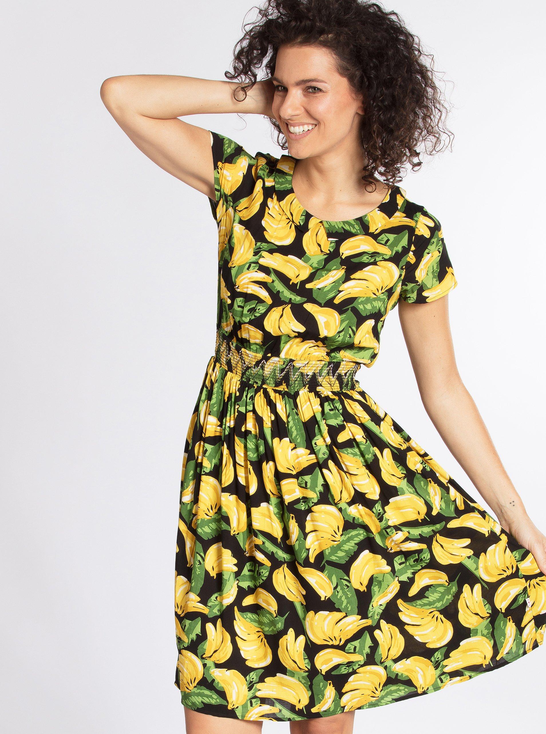 Žluto-černé vzorované šaty Blutsgeschwister