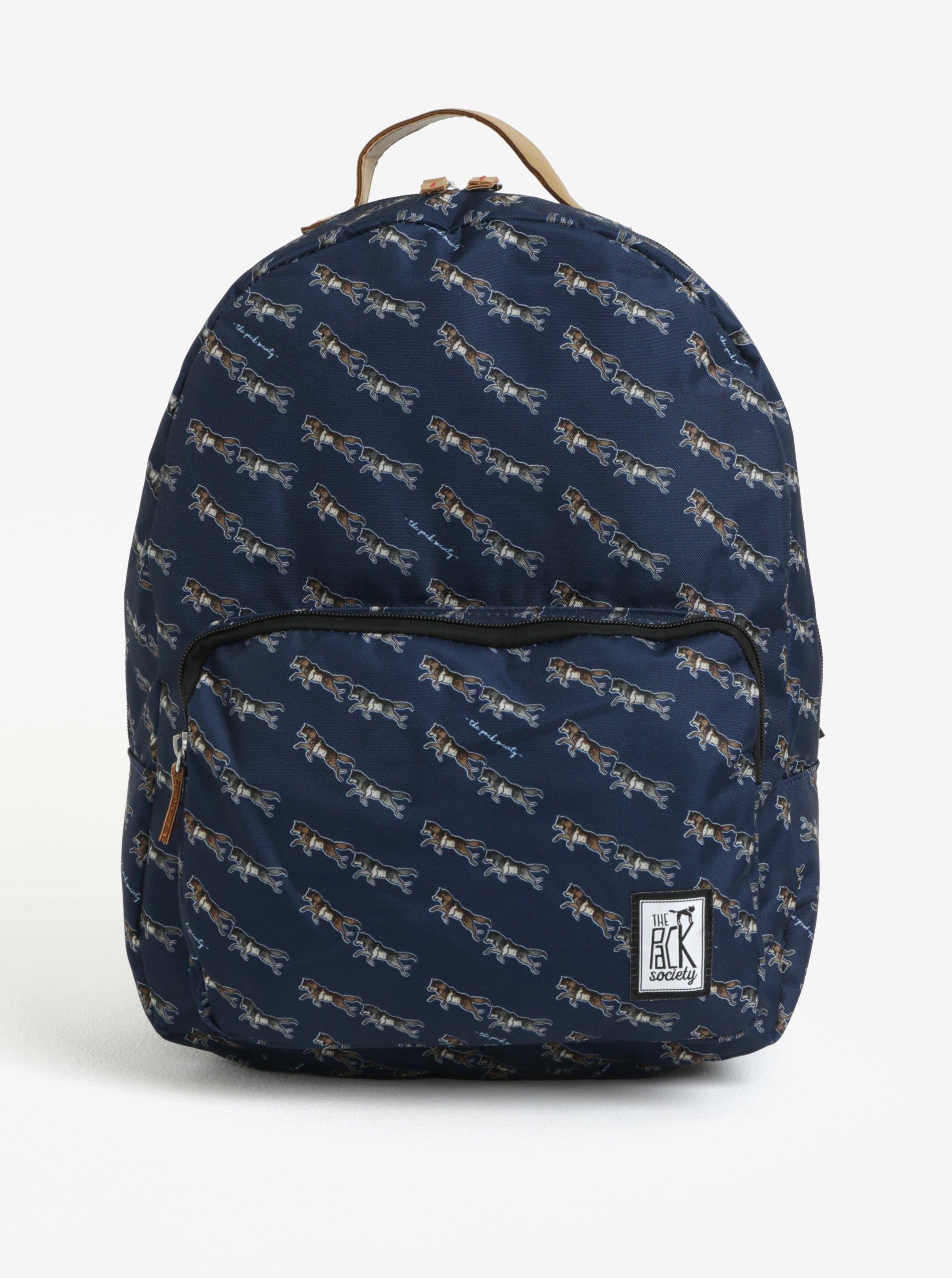 Tmavě modrý dámský batoh s barevným potiskem The Pack Society 18 l