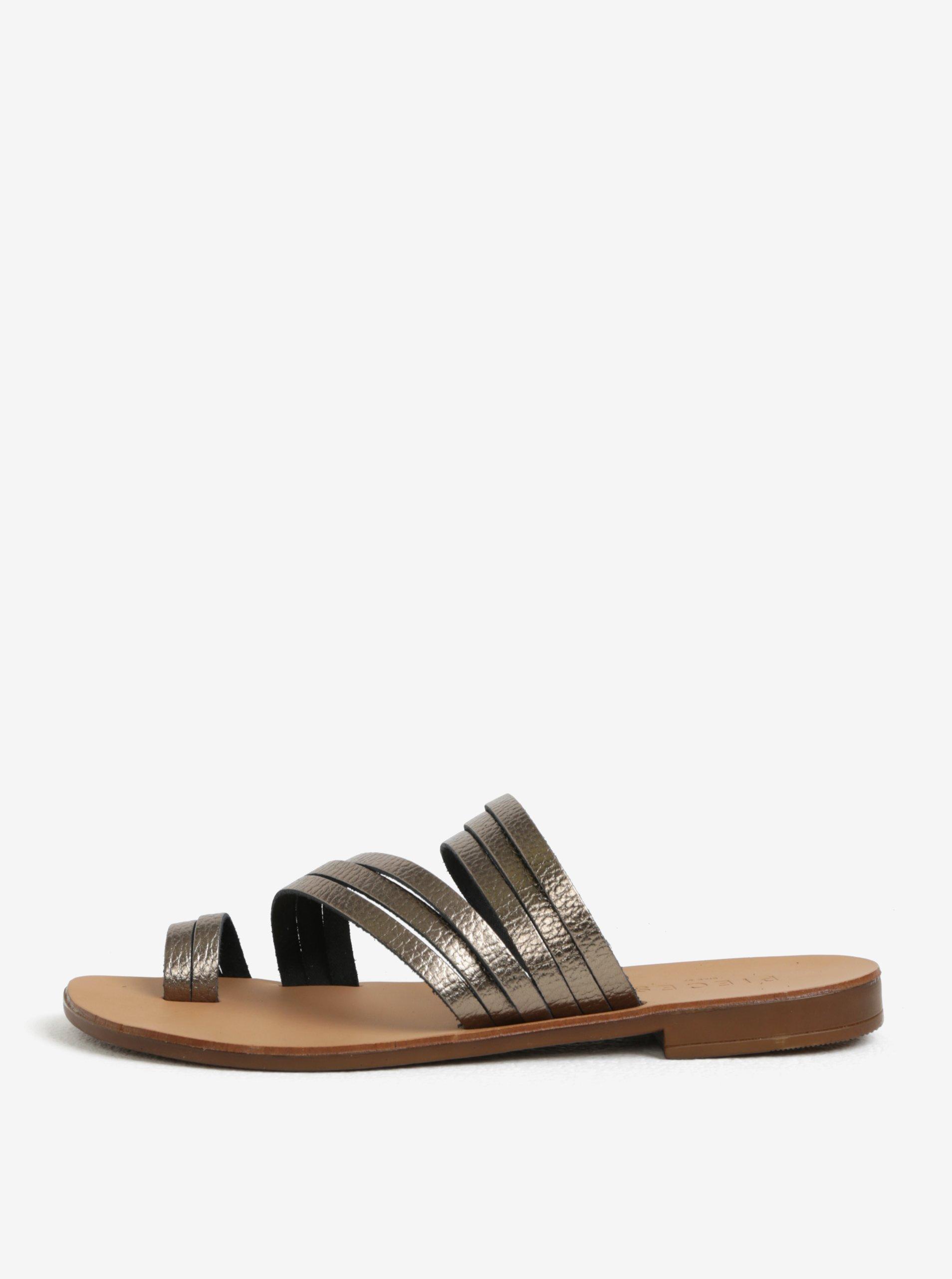 Tmavě hnědé metalické kožené pantofle Pieces Mavis