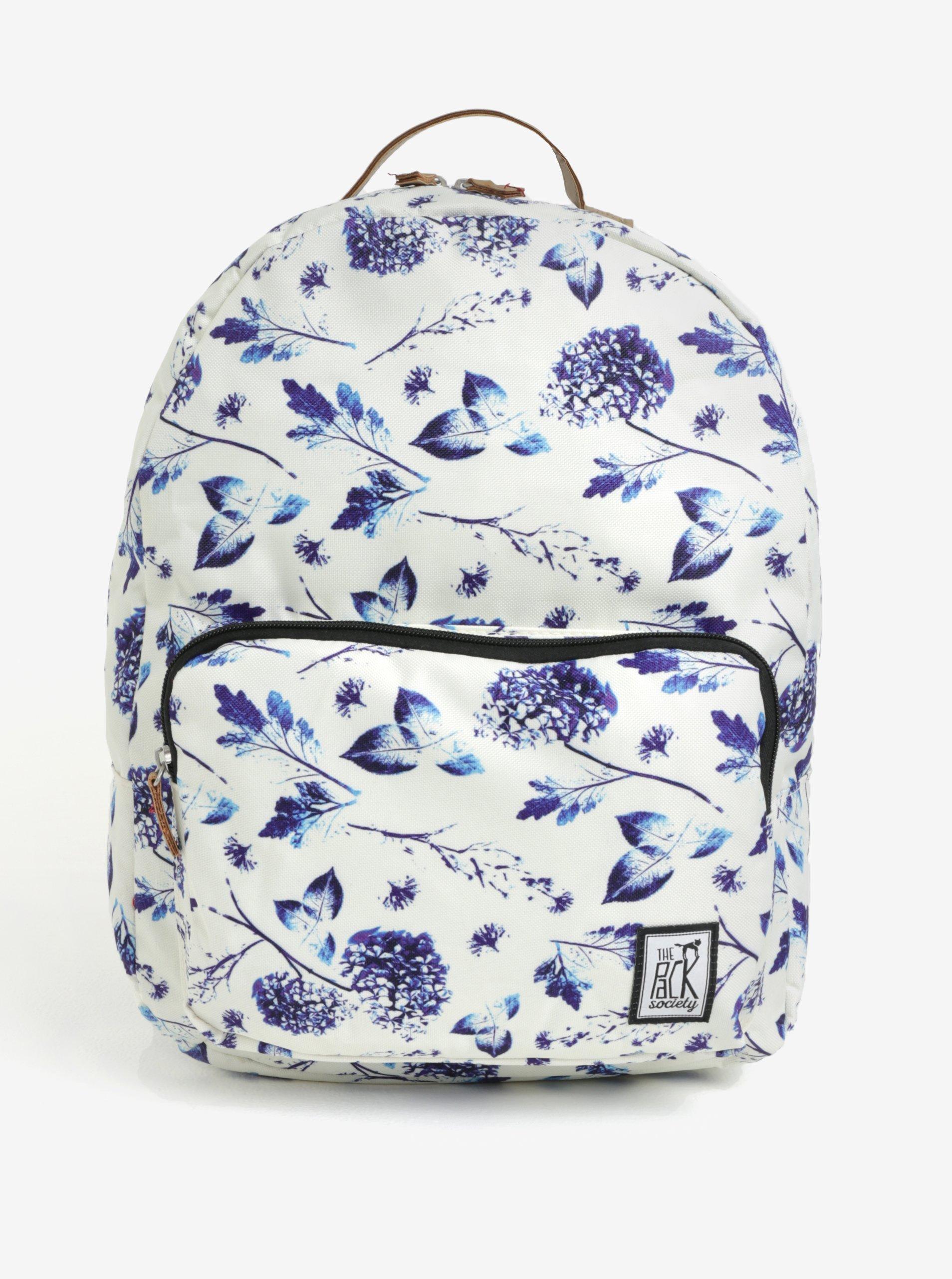 Krémový dámský batoh s květovaným potiskem The Pack Society 18 l