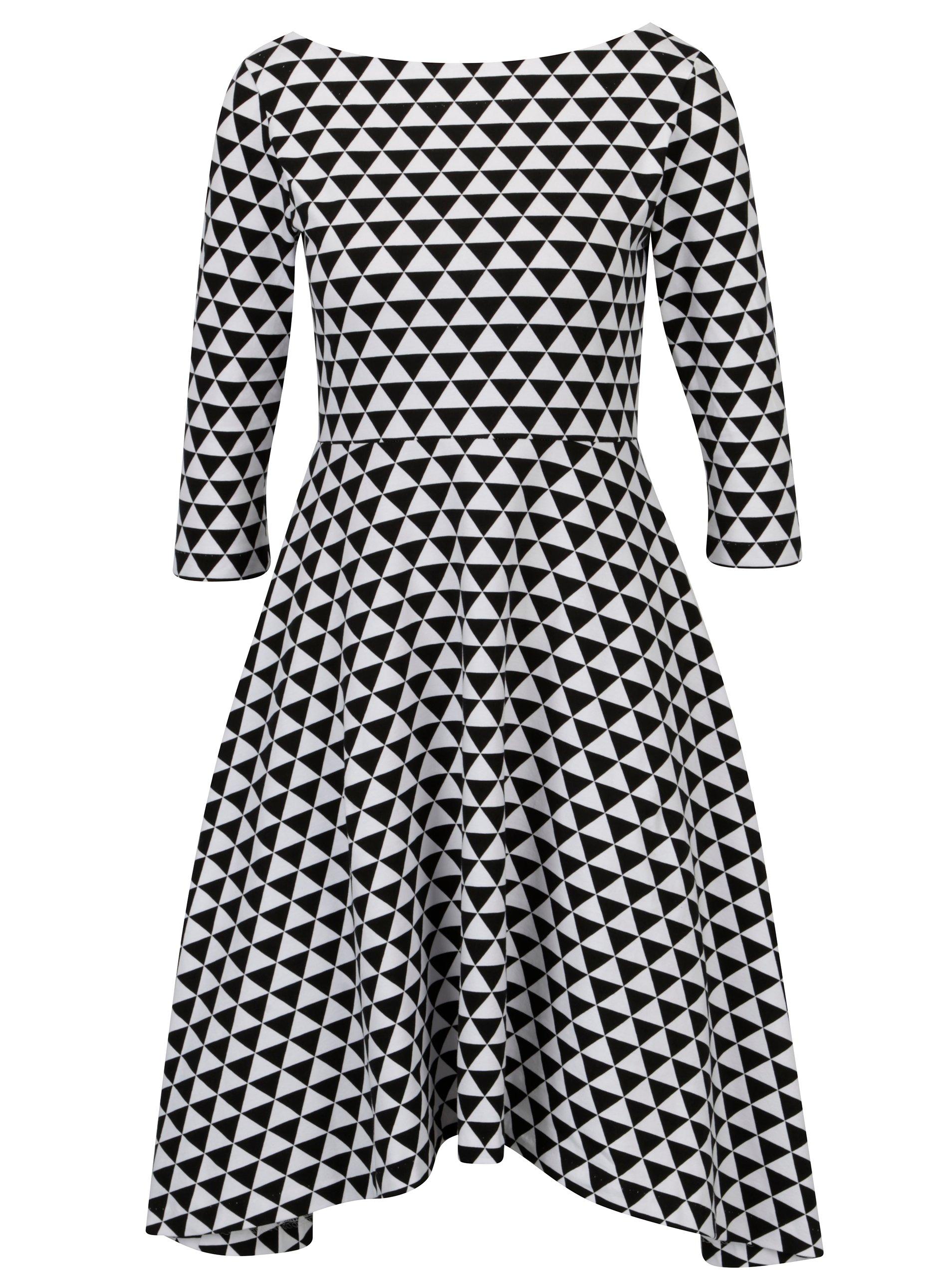 Čierno-biele áčkové vzorované šaty s 3 4 rukávom miestni Bla d516163092e