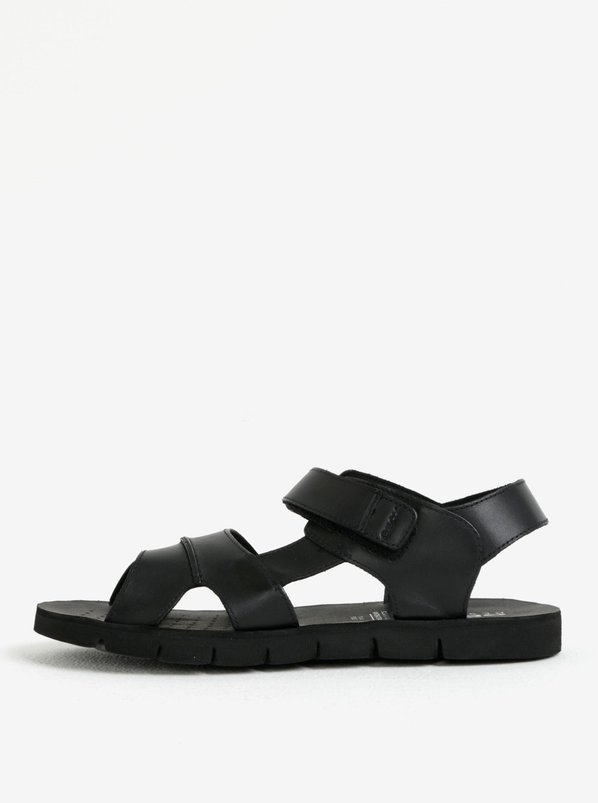Čierne pánske kožené sandále Geox Marry Glenn 020fa3d744b
