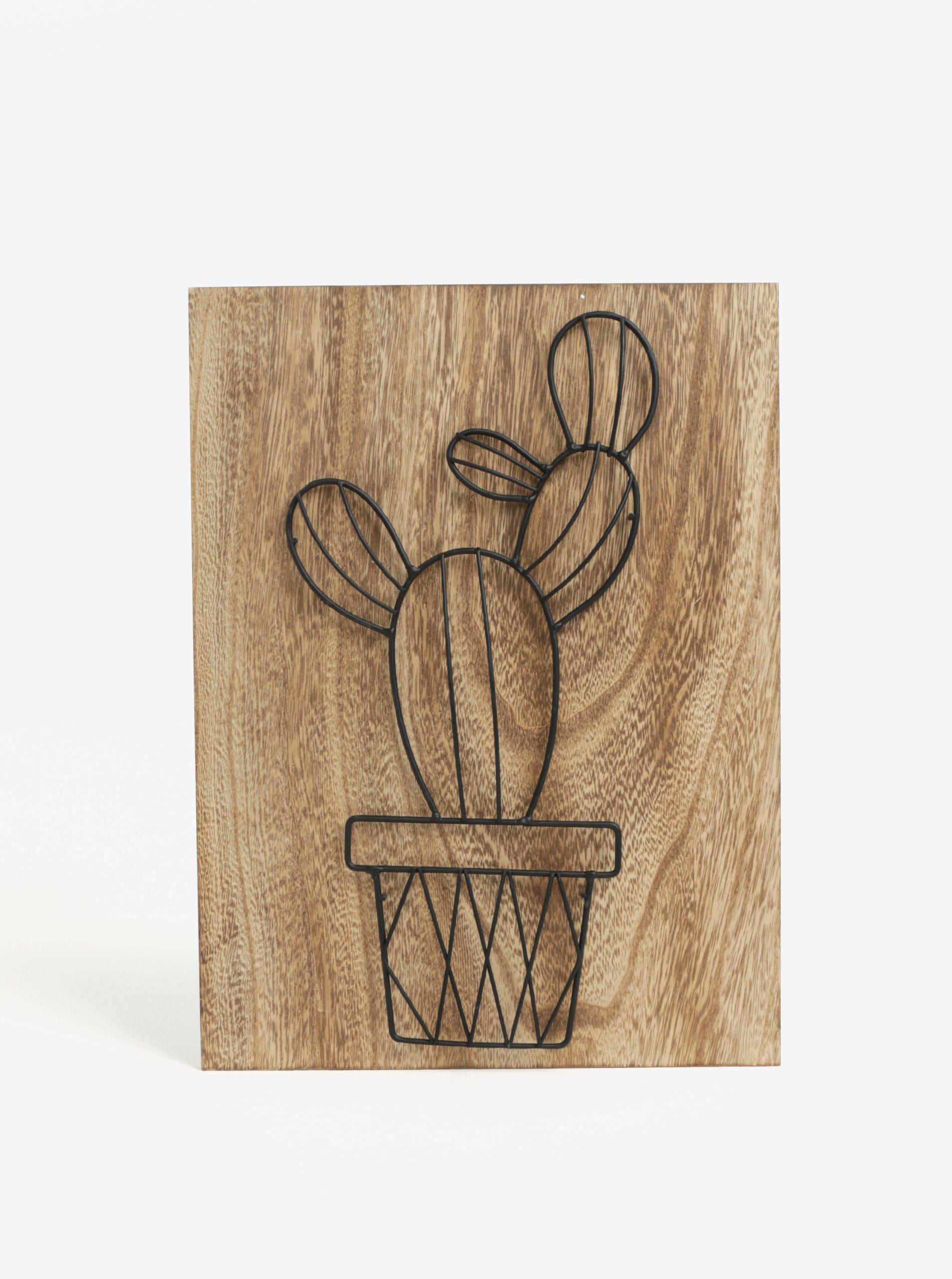Hnědý 3D obraz s kovovým kaktusem SIFCON