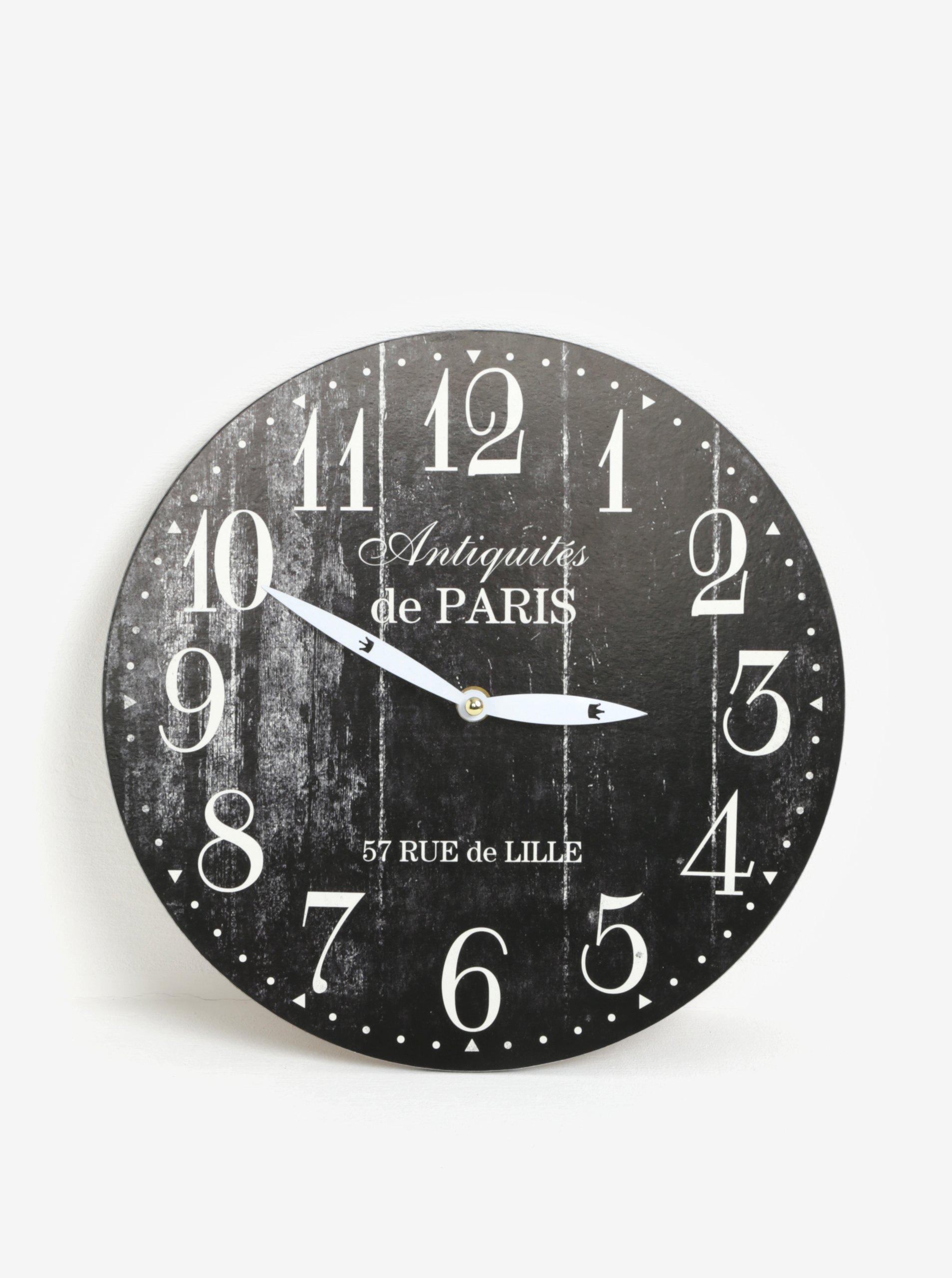 Černé vintage nástěnné hodiny SIFCON