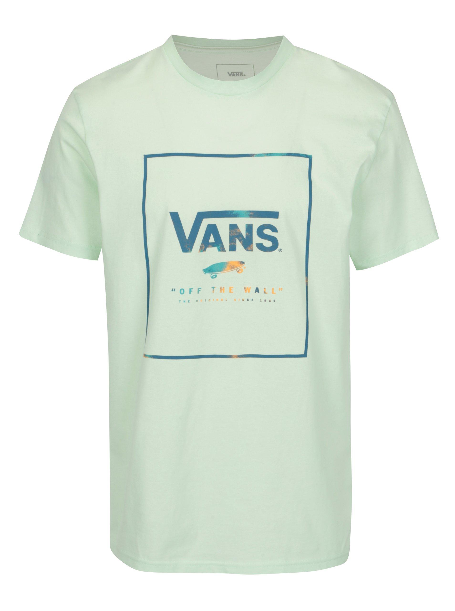 Svetlozelené pánske tričko potlačou VANS Box 6bd690bf1b5