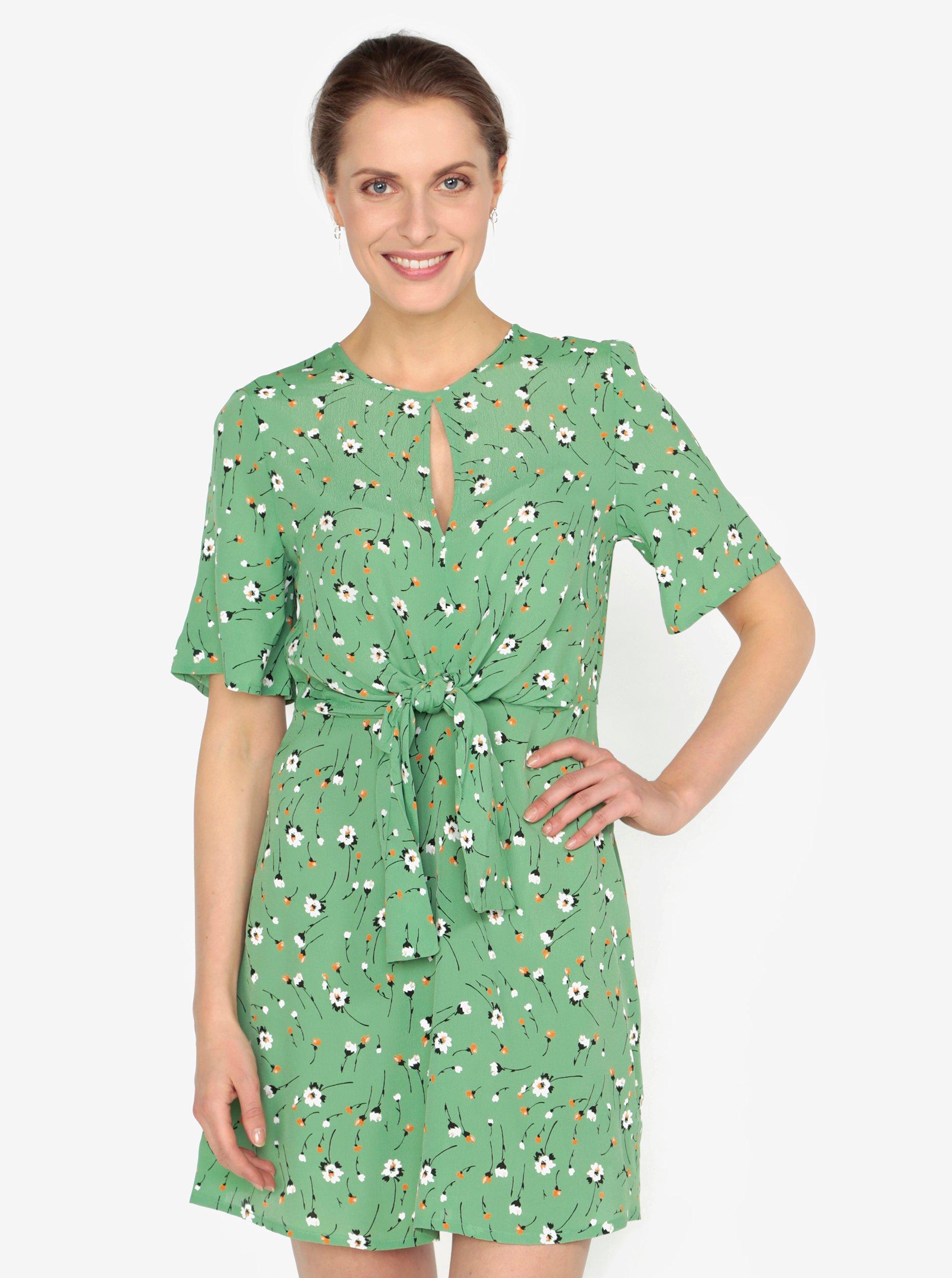 cd410f1ea480 Světle zelené květované šaty s uzlem Miss Selfridge