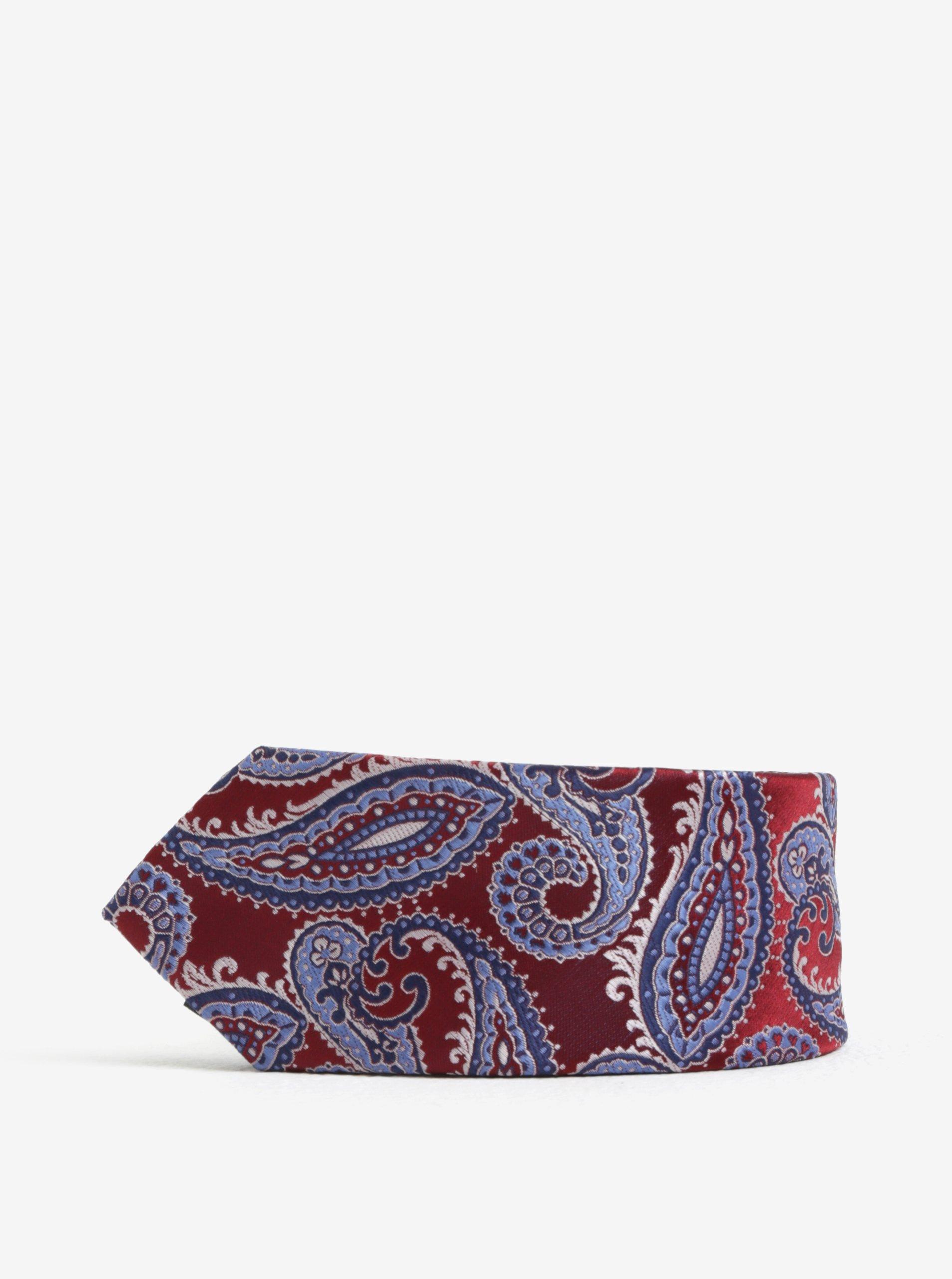 Vínová kravata s kašmírovým vzorem Burton Menswear London