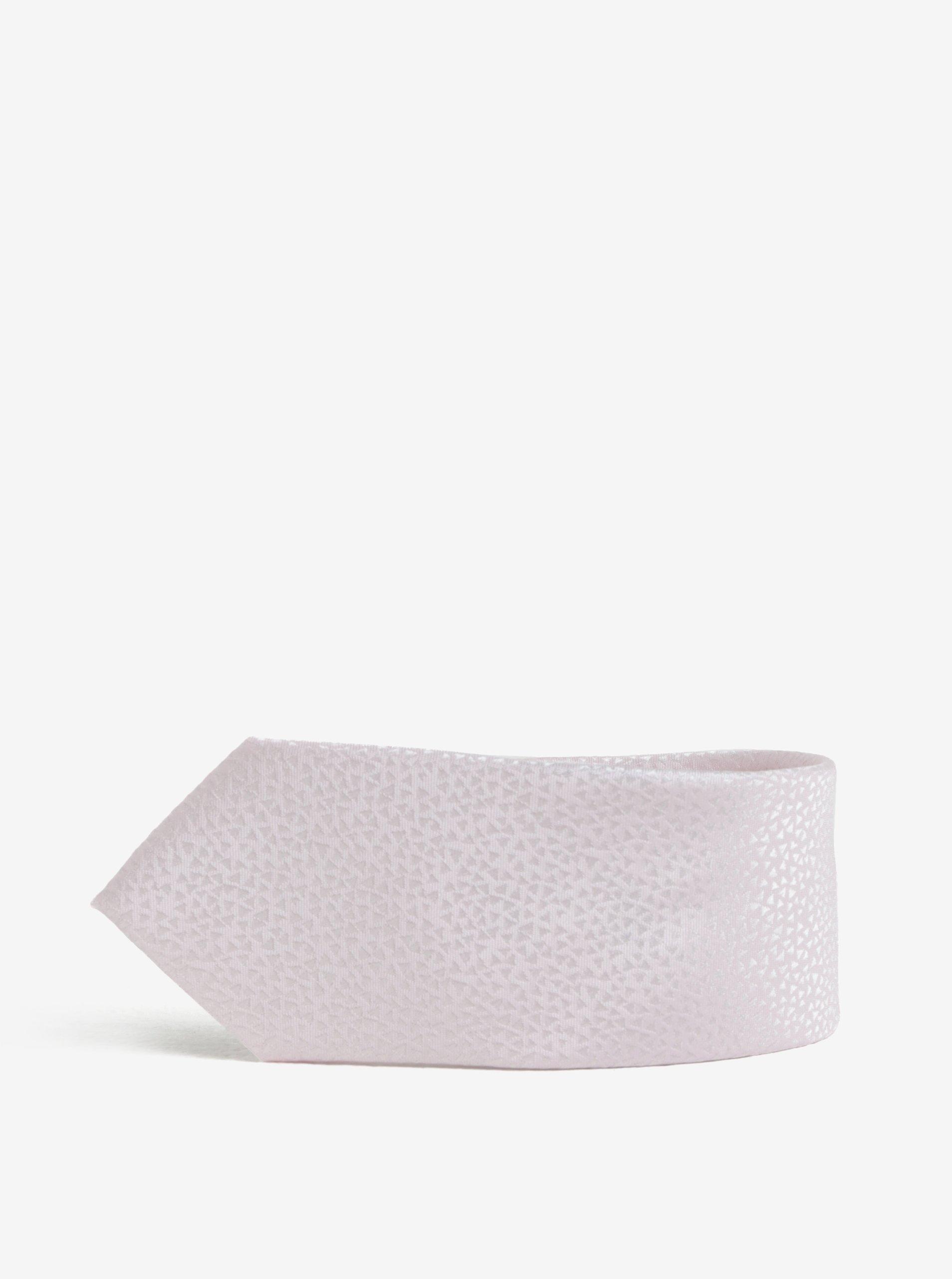 Světle růžová vzorovaná kravata Burton Menswear London