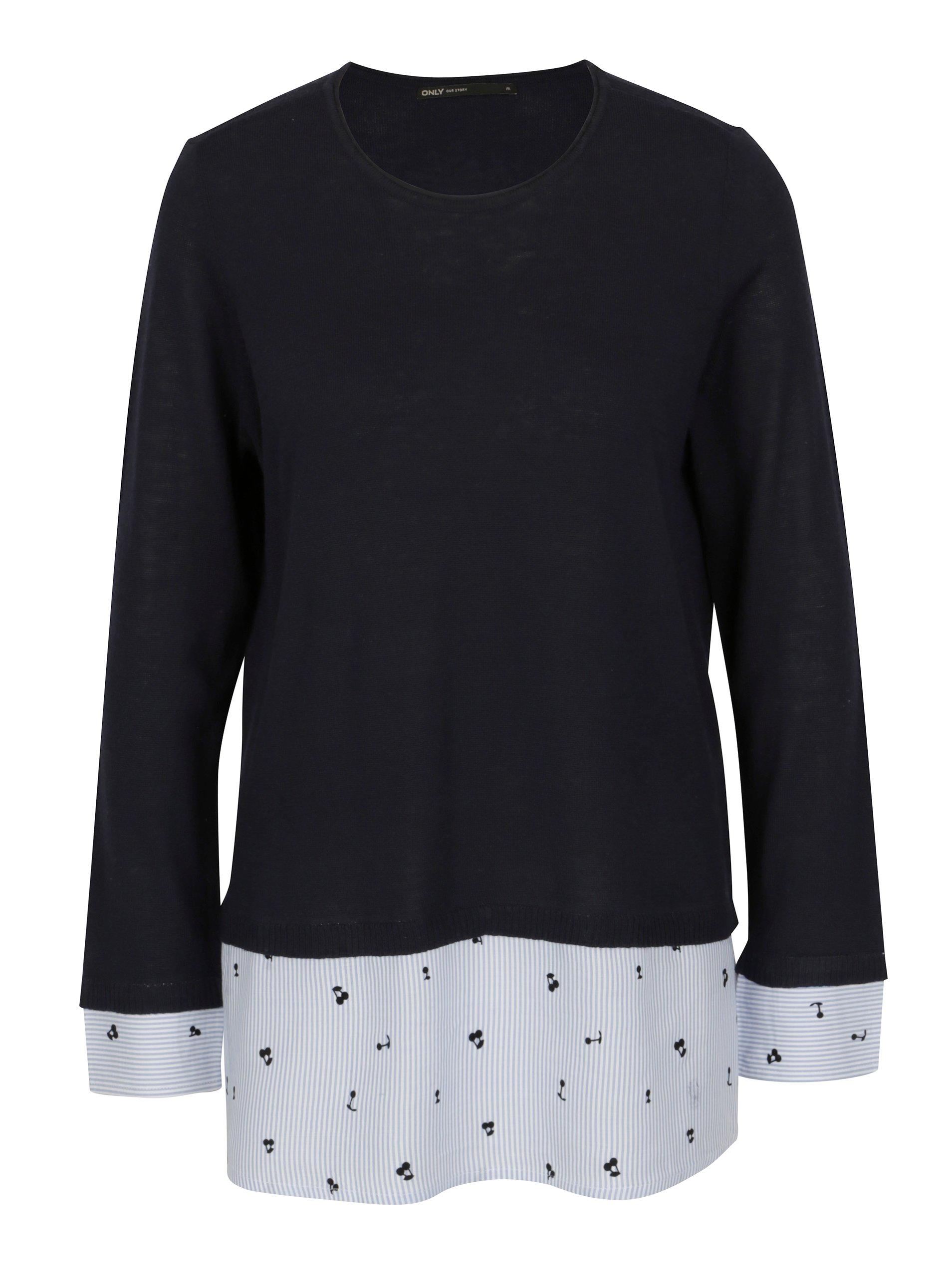 Modrý svetr s všitým košilovým lemem ONLY Acacia