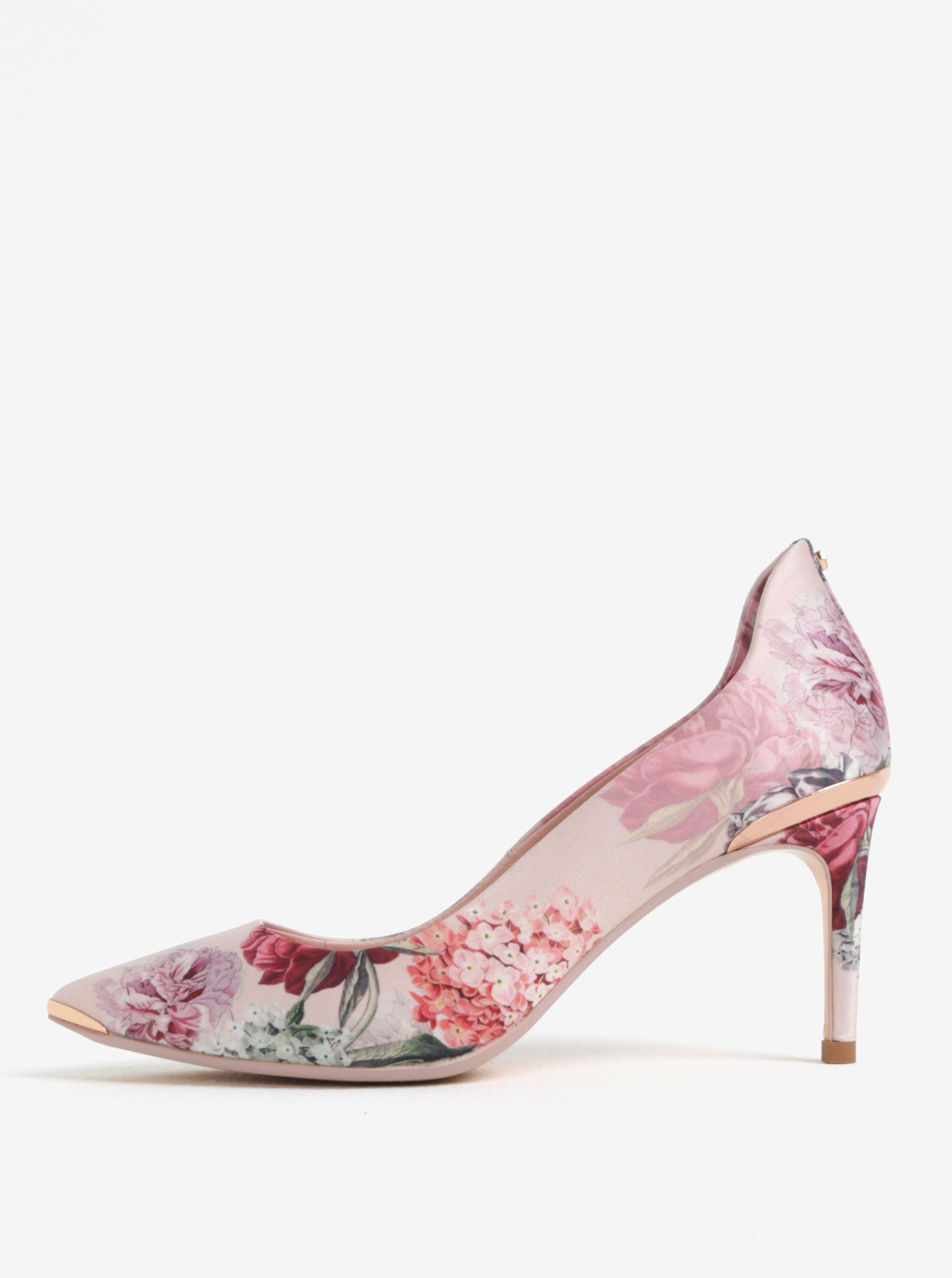 Světle růžové květované lodičky do špičky Ted Baker Vyixynp 2 9036ad2e14