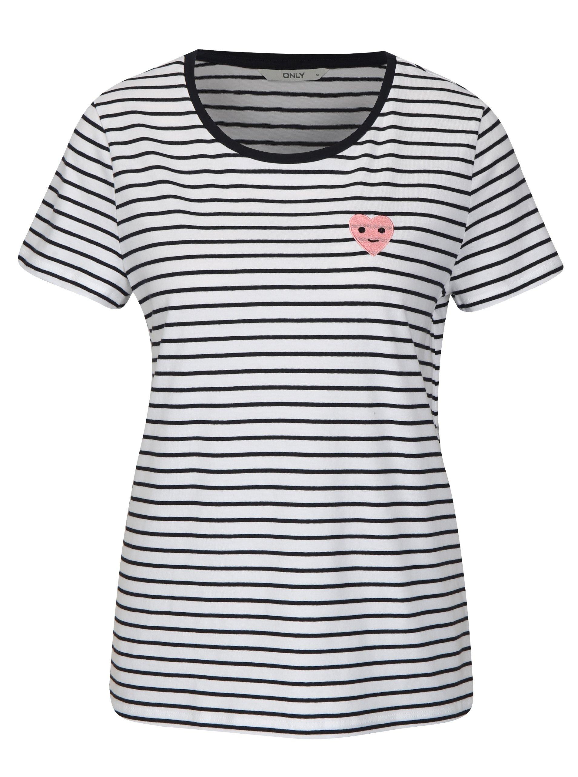 Modro-bílé pruhované tričko s výšivkou ONLY Cos