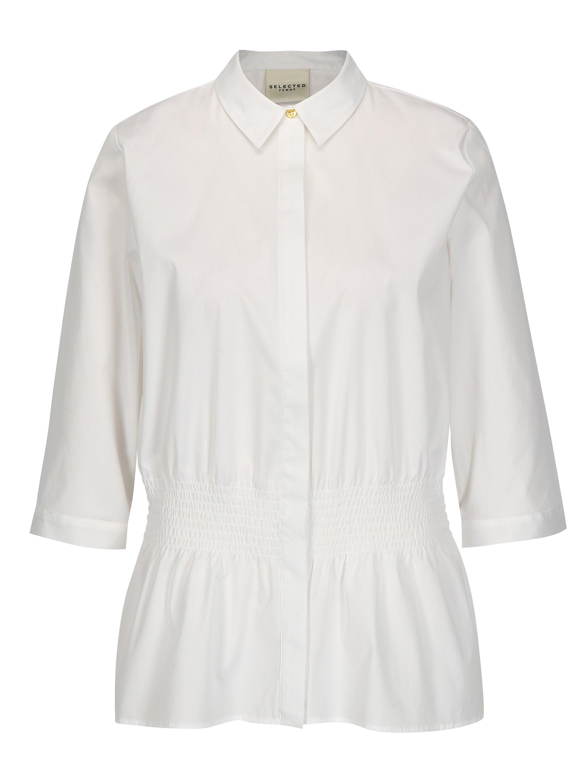 Biela košeľa s 3/4 rukávmi Selected Femme Camille