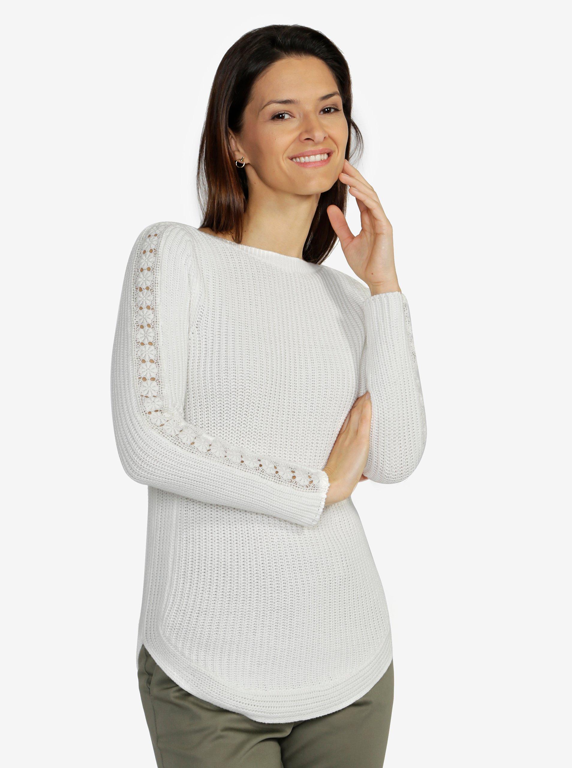 6f035583cbb1 Krémový dámsky sveter s čipkou na rukávoch M Co