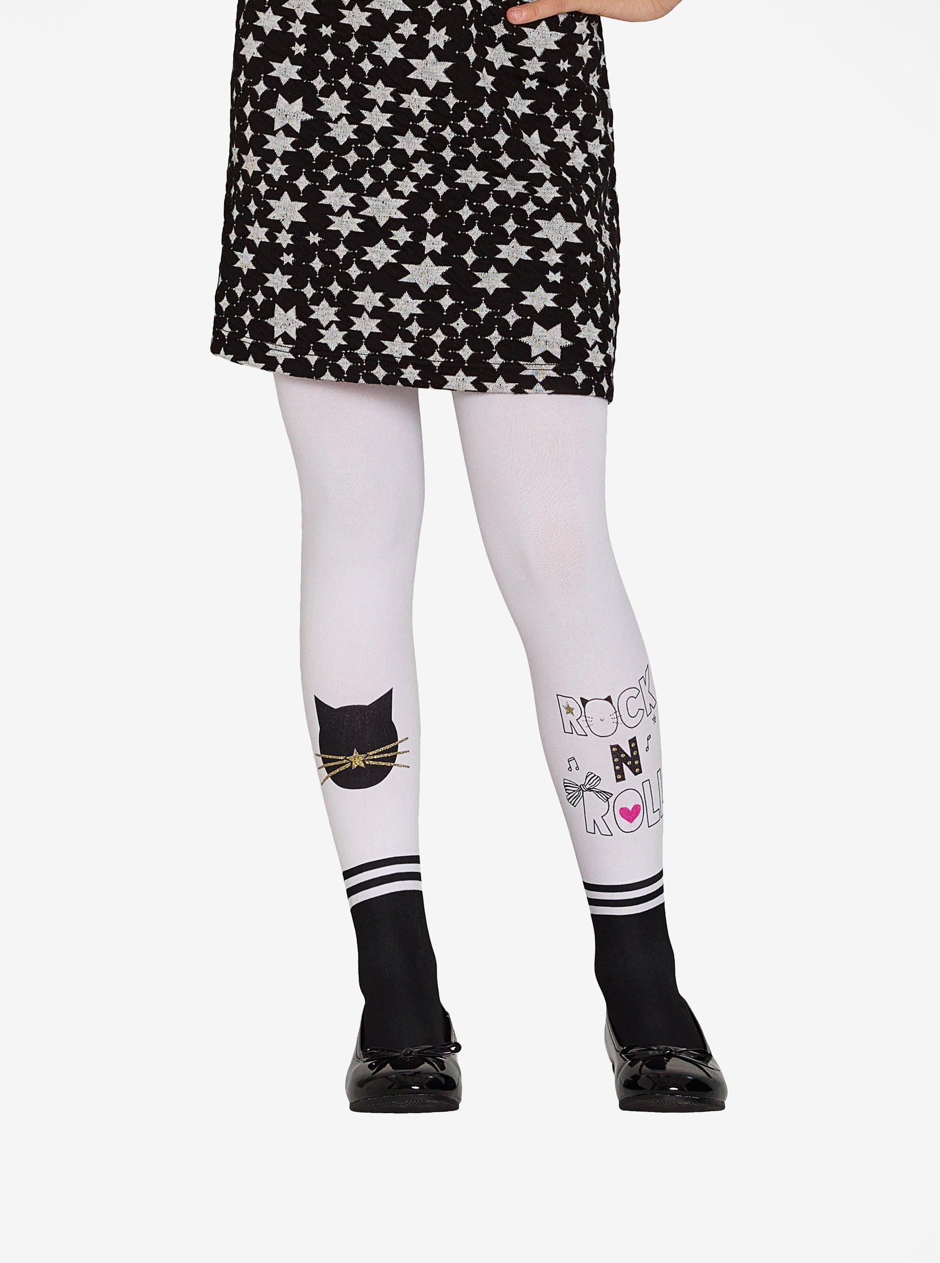 Černo-bílé holčičí punčocháče s motivem kočky Penti Pretty Cat Rocks 70 DEN