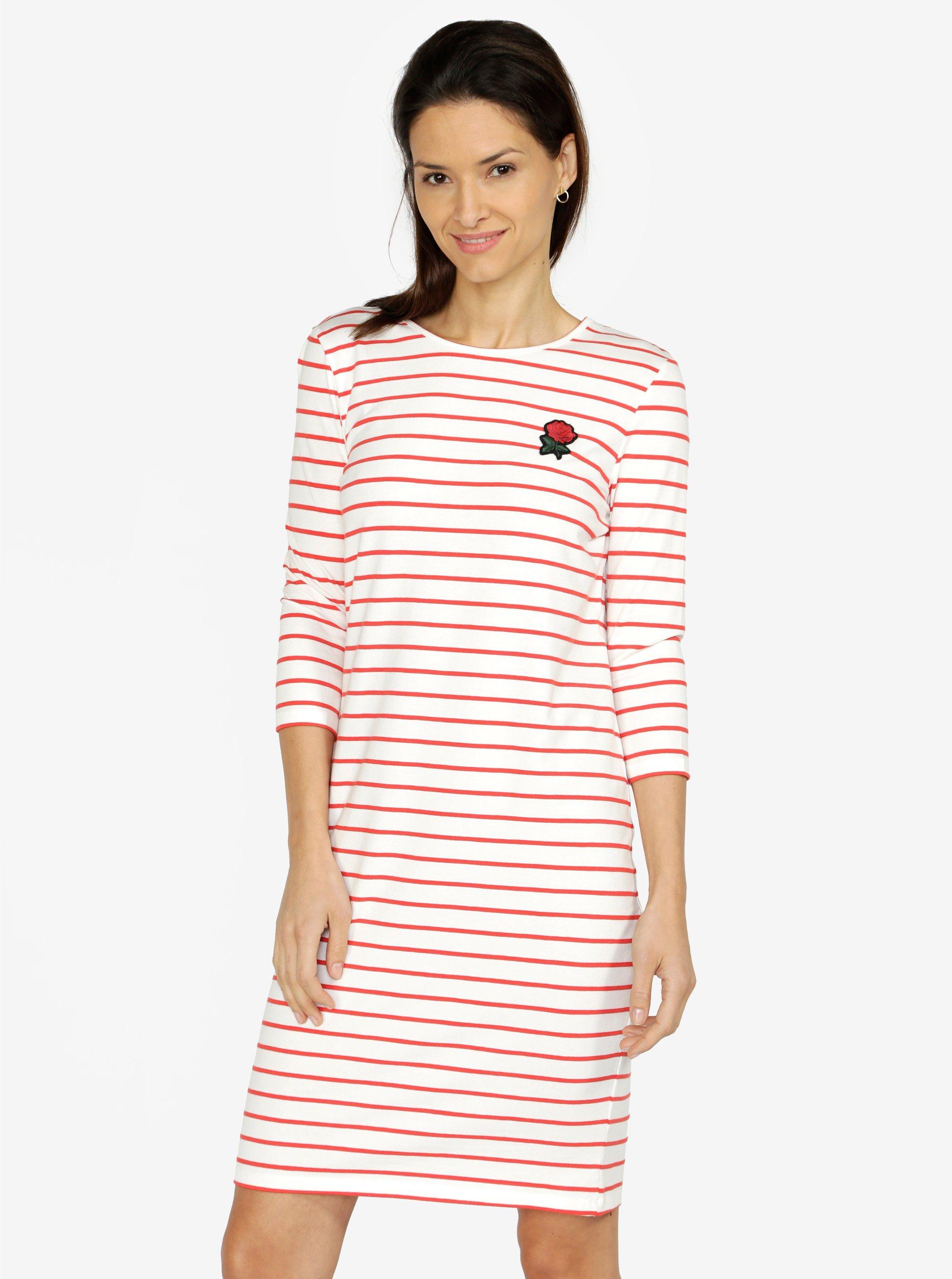 0c253f53201c Červeno-krémové pruhované šaty s nášivkou VERO MODA Lirose