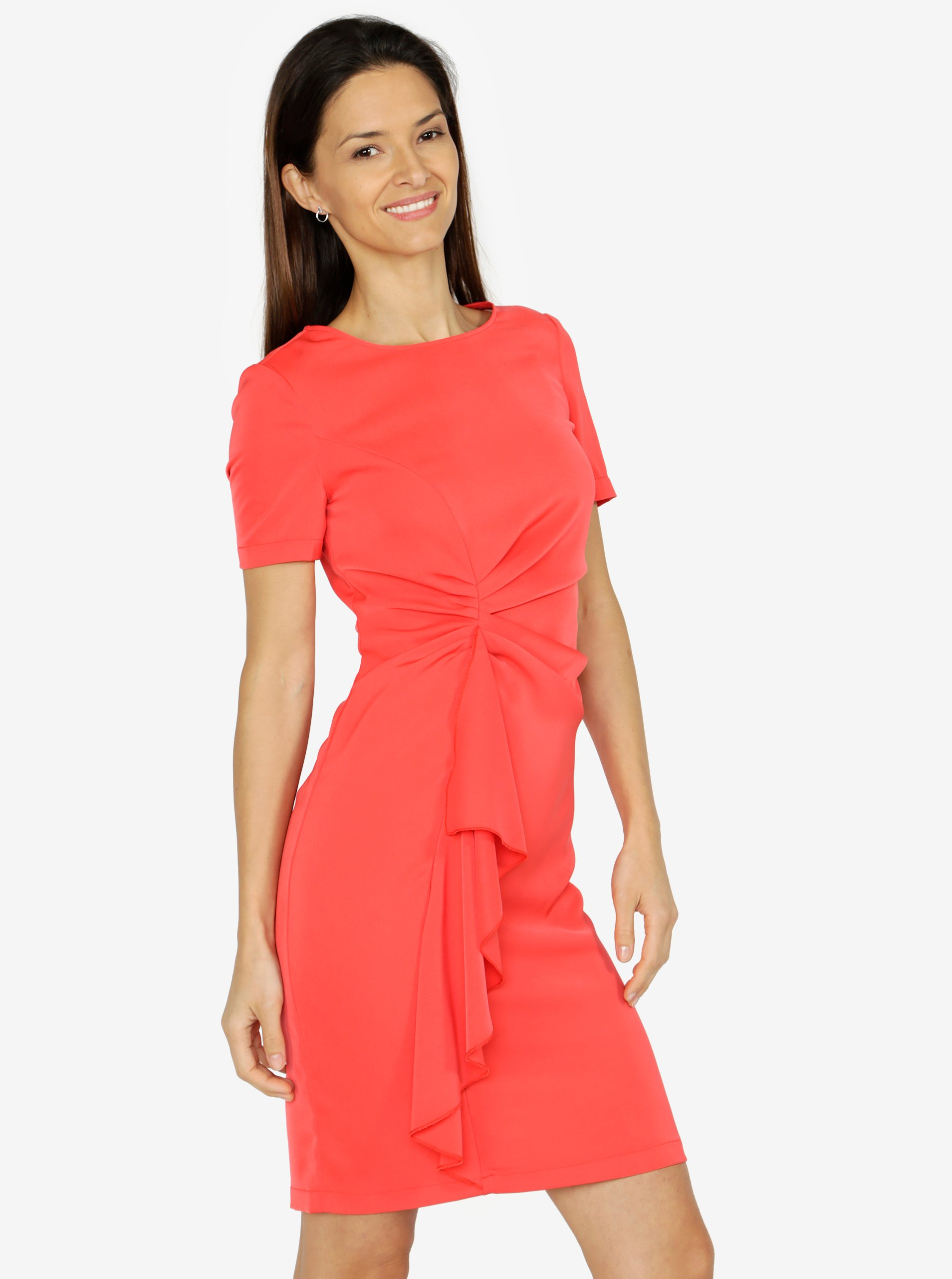 Červené šaty s volánem VERO MODA Snack