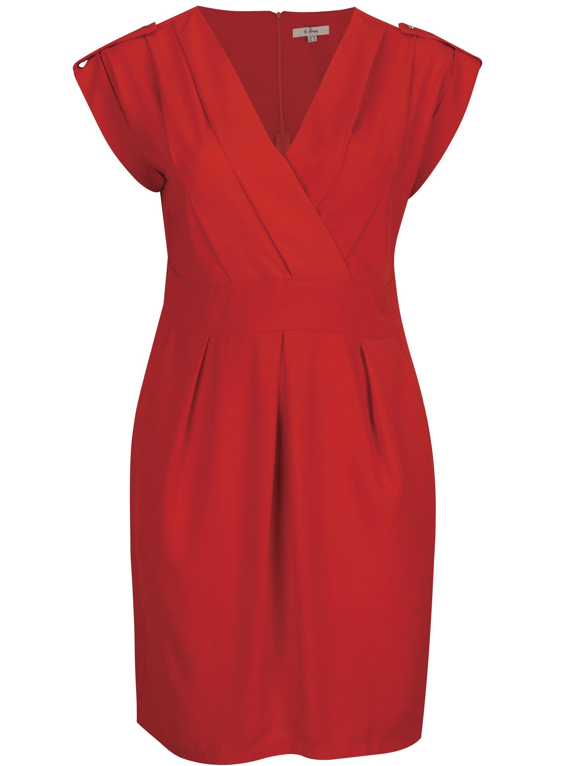 Červené šaty s prekladaným výstrihom La Lemon