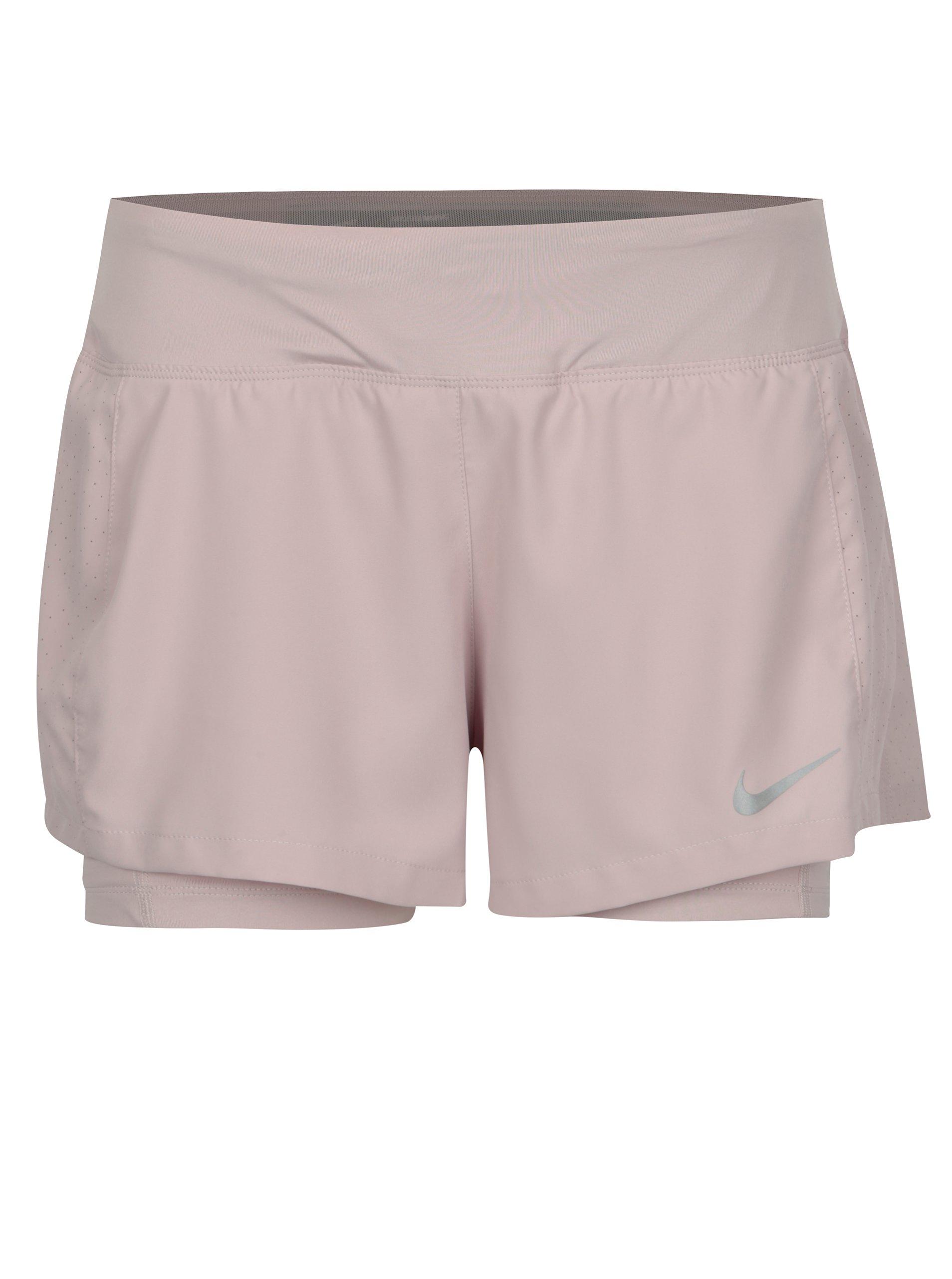 Světle růžové dámské funkční kraťasy Nike Eclipse 2-in-1Triumph