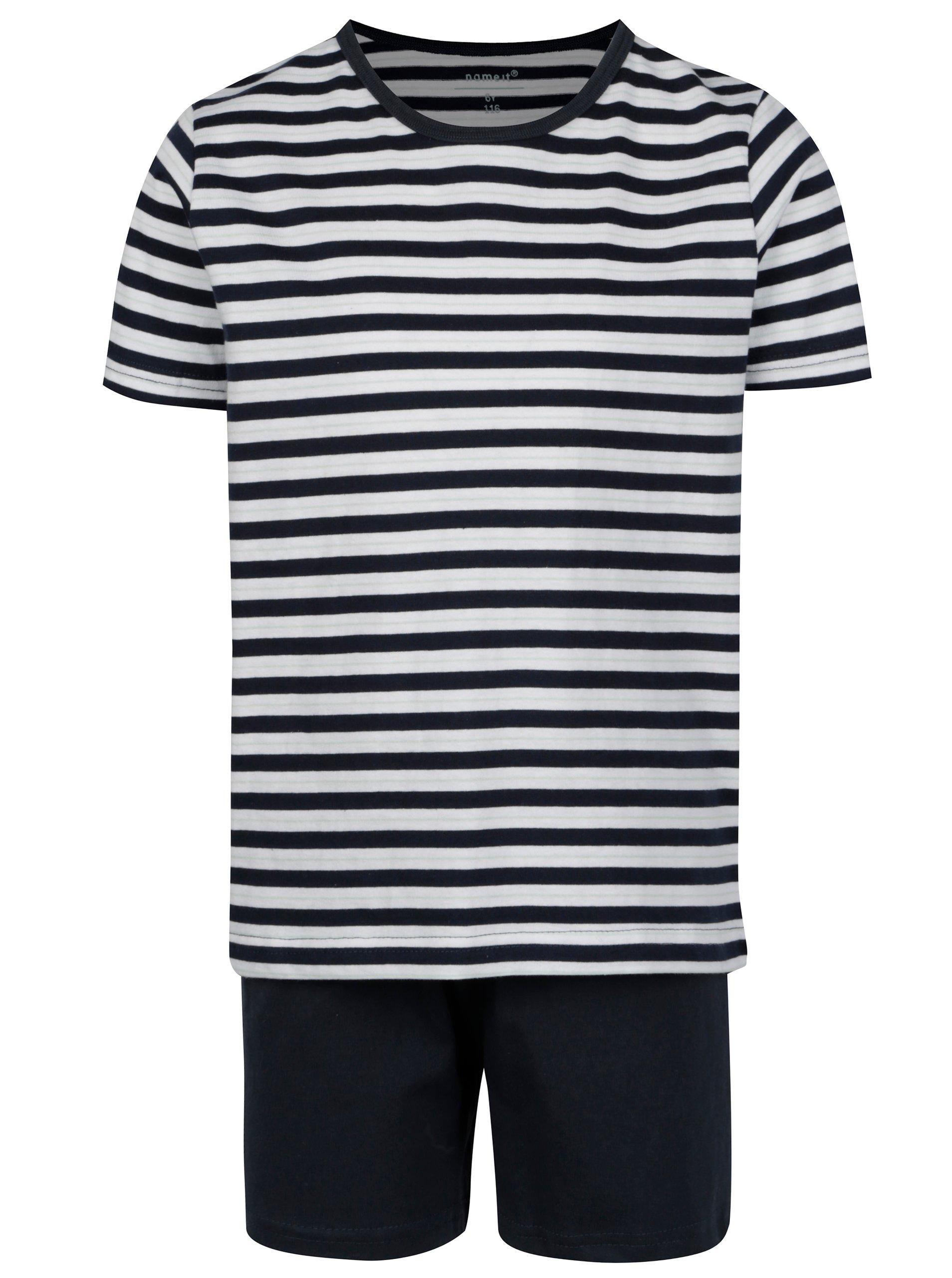 Krémovo-modré dvojdielne chlapčenské pyžamo name it Night