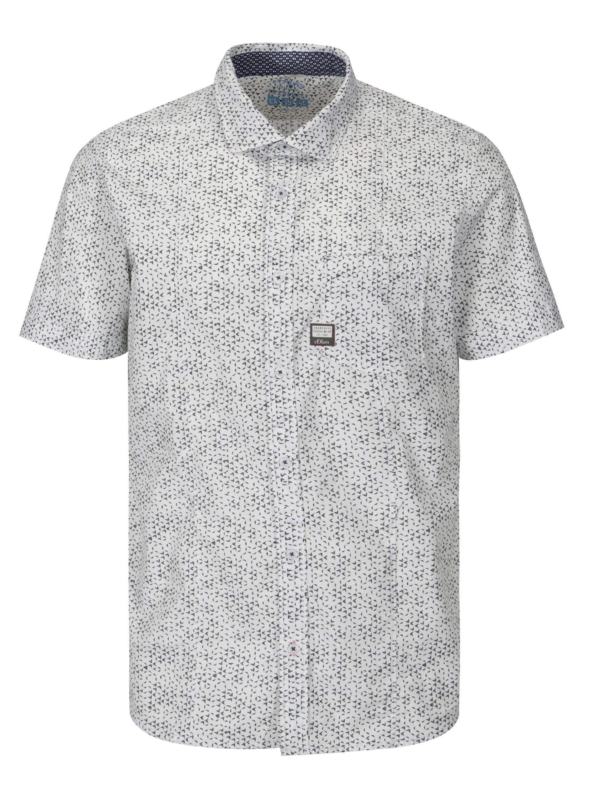 25140b30c111 Šedo-bílá pánská vzorovaná slim fit košile s.Oliver