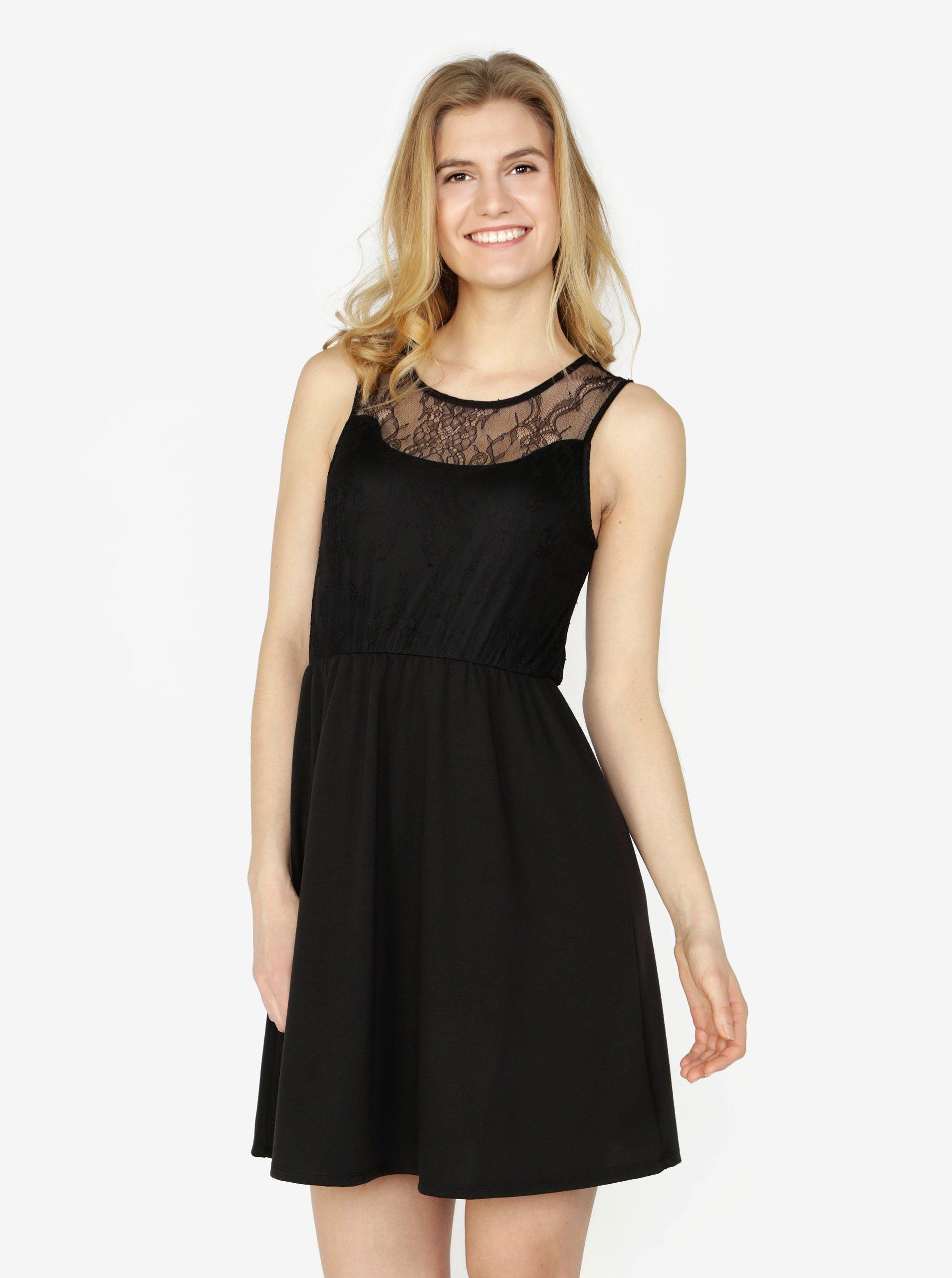 Černé šaty s krajkou VERO MODA Daga